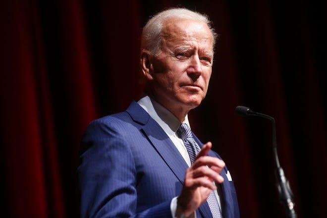 Former Vice President Joe Biden speaks during the UNLV William S. Boyd School of Law 20th Anniversary Gala in Las Vegas on Saturday, Dec. 1, 2018.