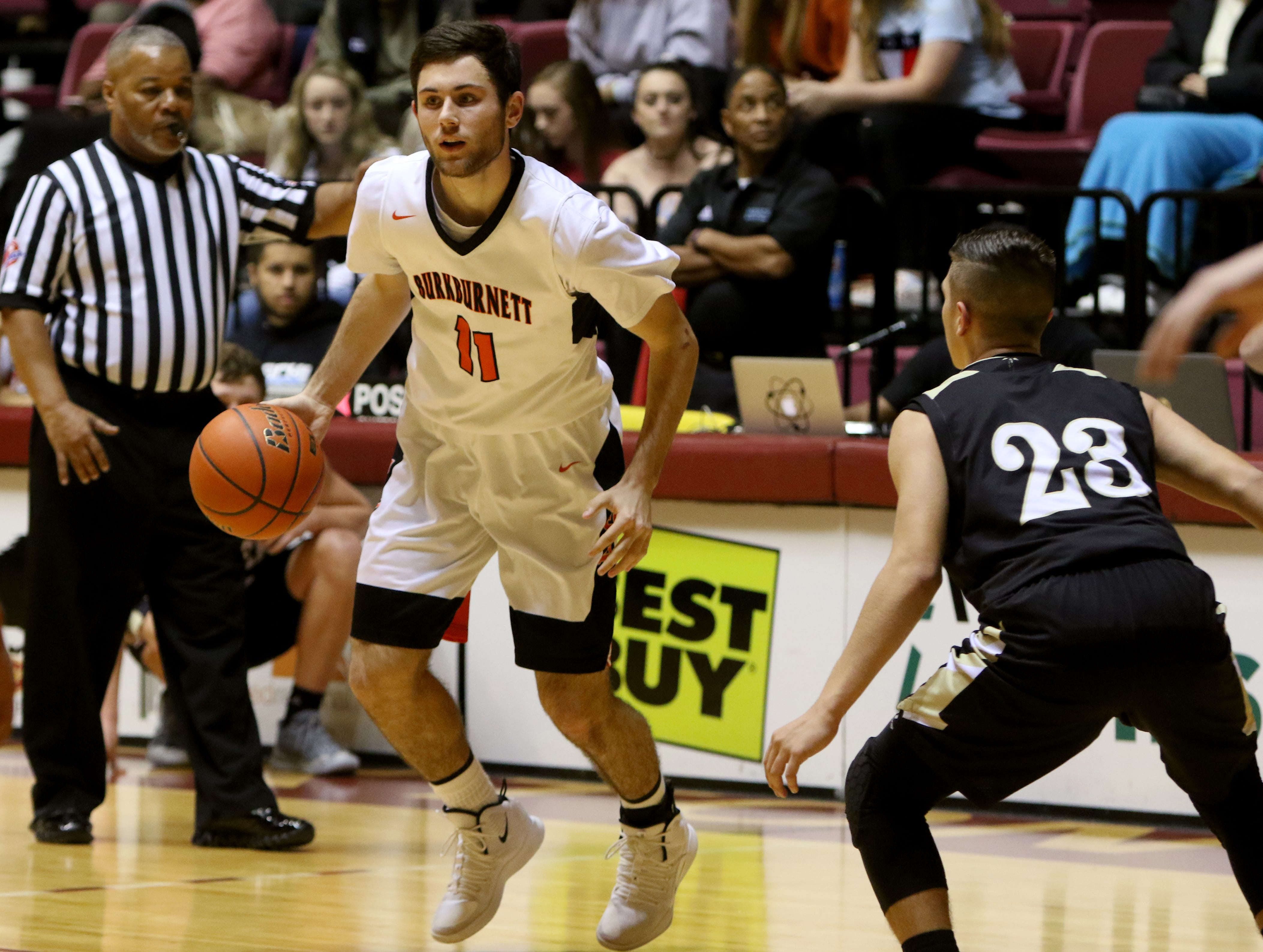 Burkburnett's Gavin Morris dribbles in the Wichita Falls Classic game against Rider Saturday, Dec. 1, 2018, in D.L. Ligon Coliseum at Midwestern State University.