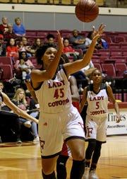 Wichita Falls High School's Jada Jackson grabs the rebound in the game against Hirschi Saturday, Dec. 1, 2018, at D.L. Ligon Coliseum at Midwestern State University.