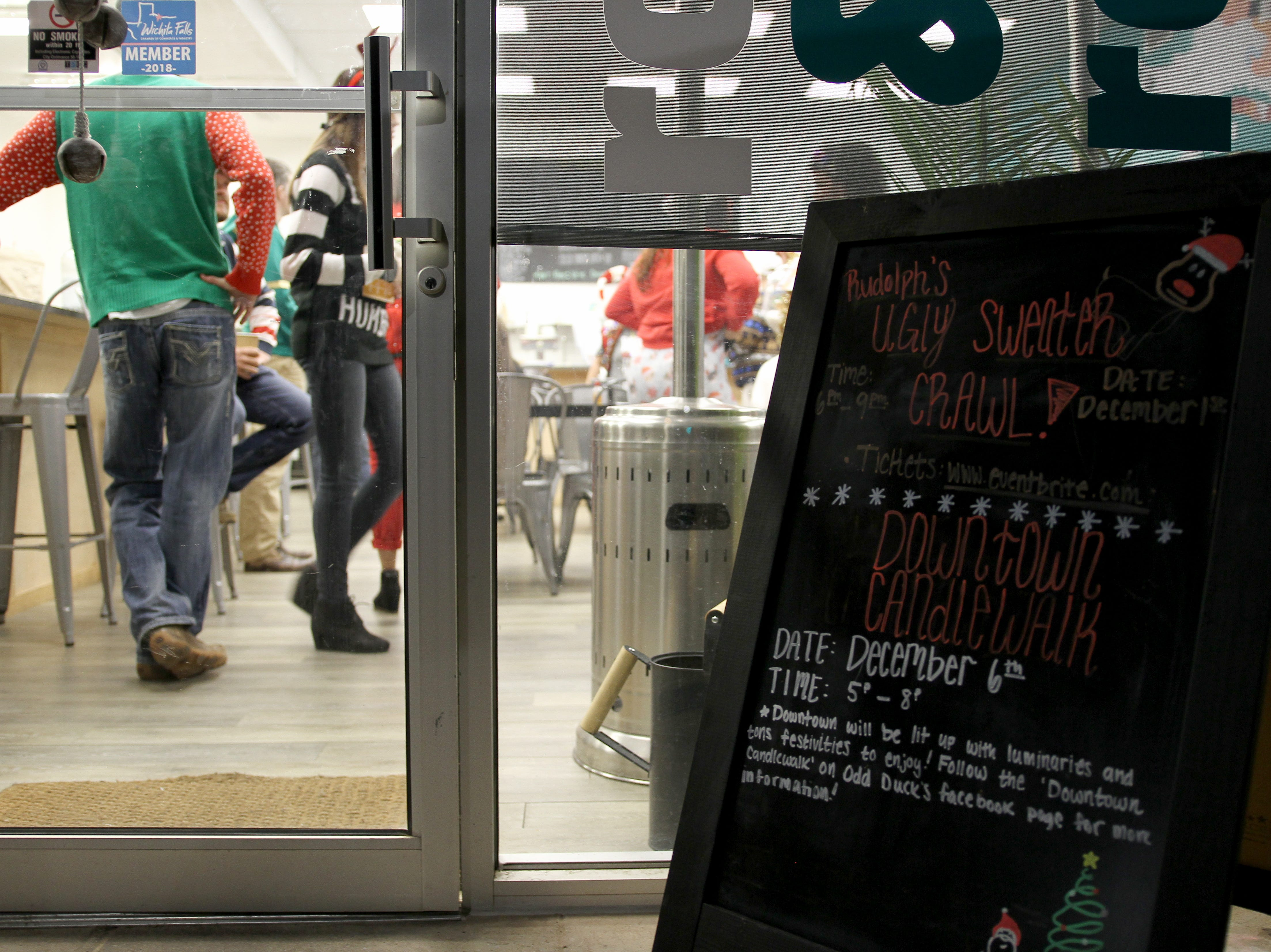 Odd Duck Coffee was one of the stops on Rudolph's First Ugly Sweater Crawl Saturday, Dec. 1, 2018, in Downtown Wichita Falls.
