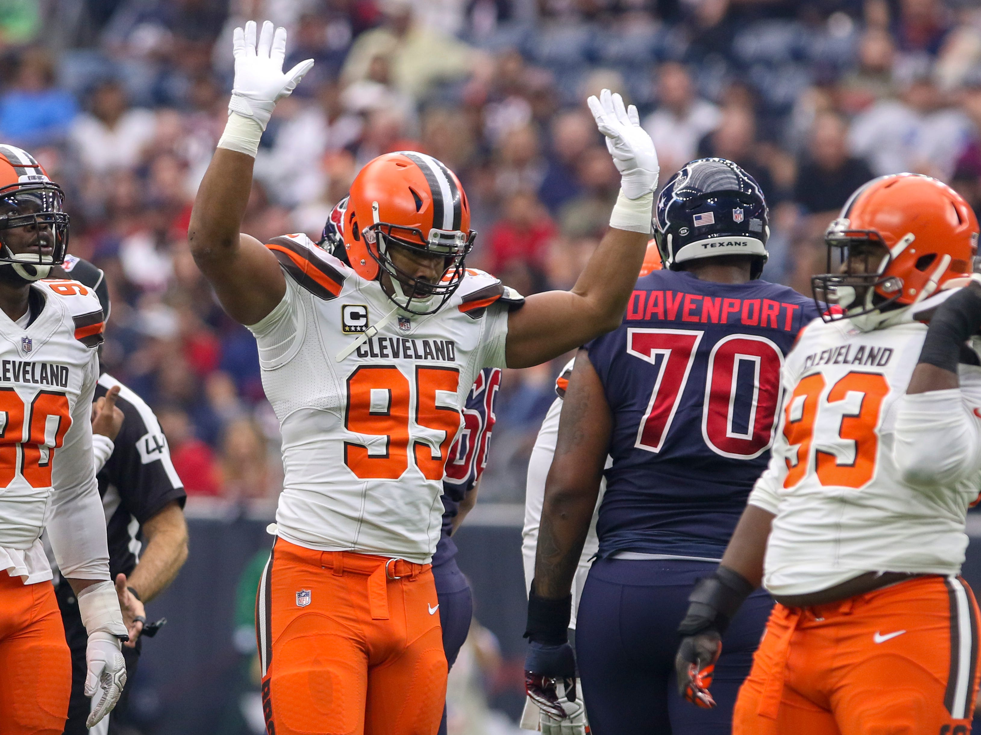 Dec 2, 2018; Houston, TX, USA; Cleveland Browns defensive end Myles Garrett (95) celebrates after recording a sack during the first quarter Houston Texans at NRG Stadium. Mandatory Credit: John Glaser-USA TODAY Sports ORG XMIT: USATSI-381566 ORIG FILE ID:  20181202_lbm_ga2_049.JPG