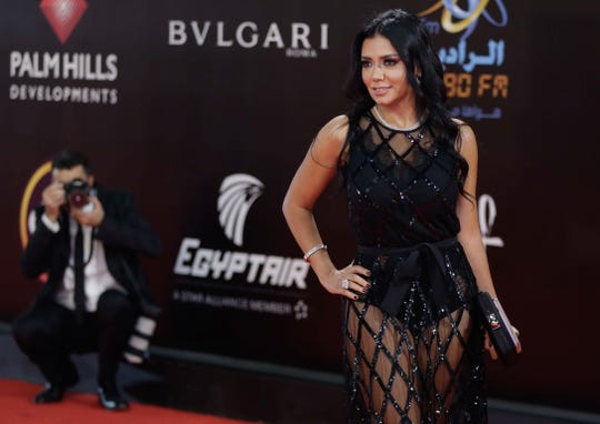 Egyptian actress Rania Youssef poses on the red carpet at the closing ceremony of the 40th Cairo International Film Festival on Nov. 29, 2018.