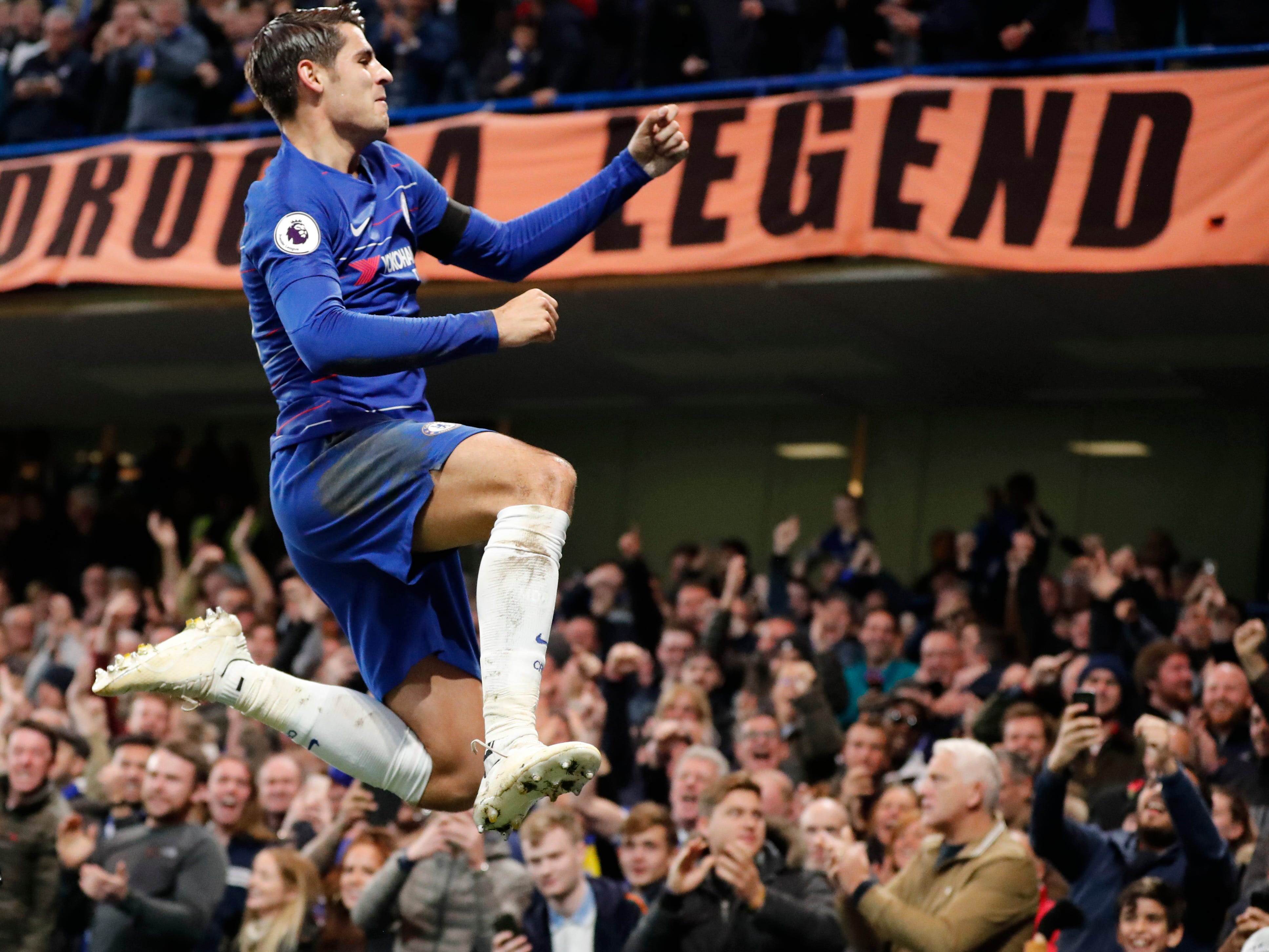 Chelsea's Alvaro Morata celebrates after scoring the opening goal against Crystal Palace.