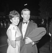 """Ken Berry and his then-wife Jackie Joseph arrive for the West Coast premiere of """"Finian's Rainbow"""" in Hollywood on Oct. 16, 1968."""