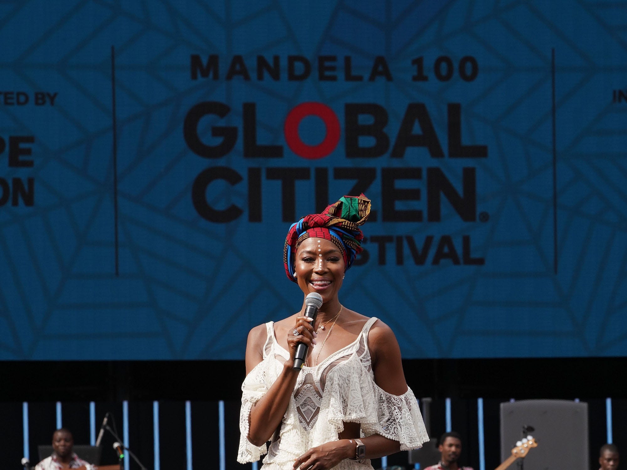 JOHANNESBURG, SOUTH AFRICA - DECEMBER 02:  Naomi Campbell speaks on stage during the Global Citizen Festival: Mandela 100 at FNB Stadium on December 2, 2018 in Johannesburg, South Africa.  (Photo by Jemal Countess/Getty Images for Global Citizen Festival: Mandela 100) ORG XMIT: 775264426 ORIG FILE ID: 1067594166