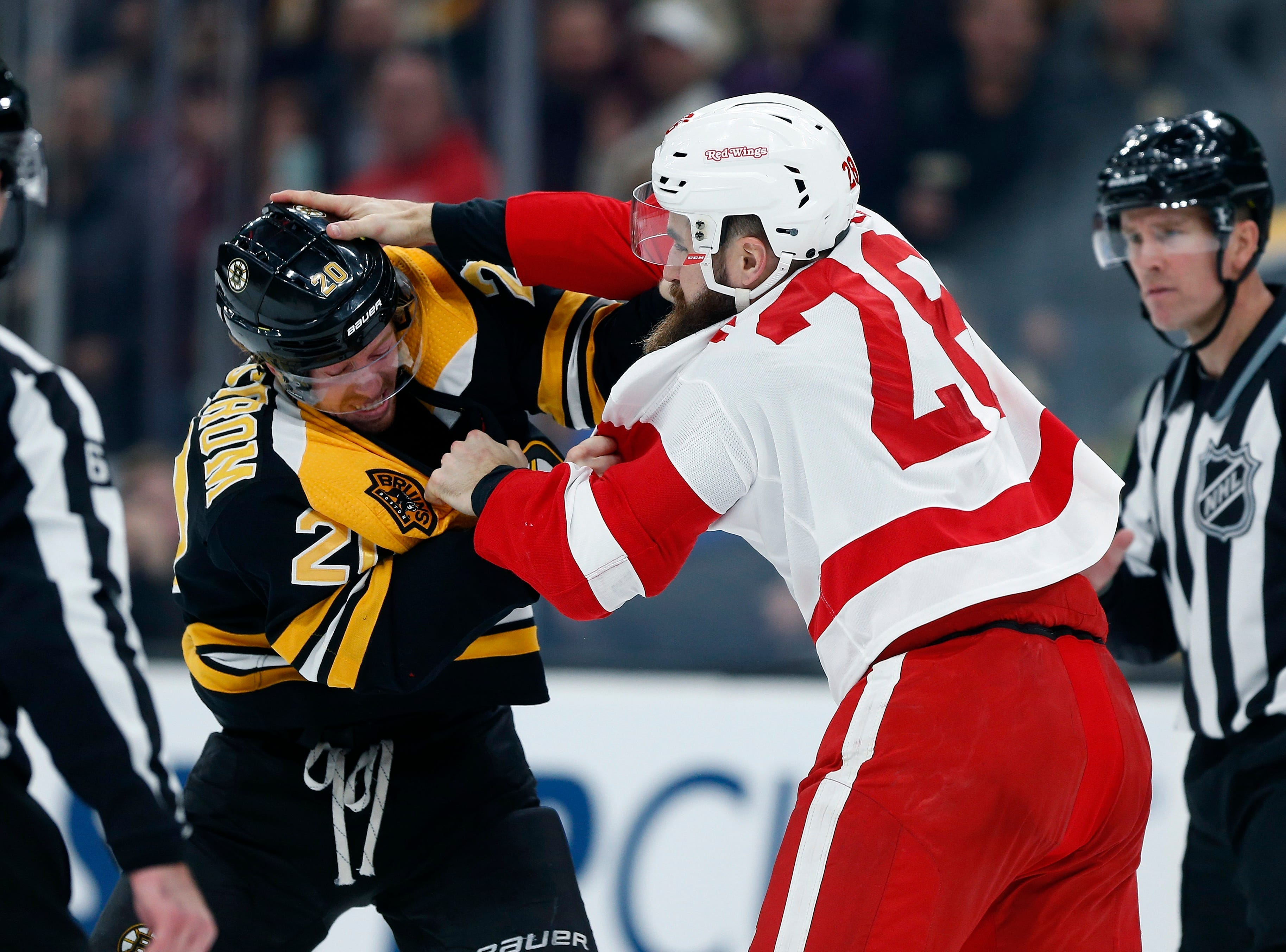 Dec. 1: Boston Bruins' Joakim Nordstrom vs. Detroit Red Wings' Luke Witkowski.