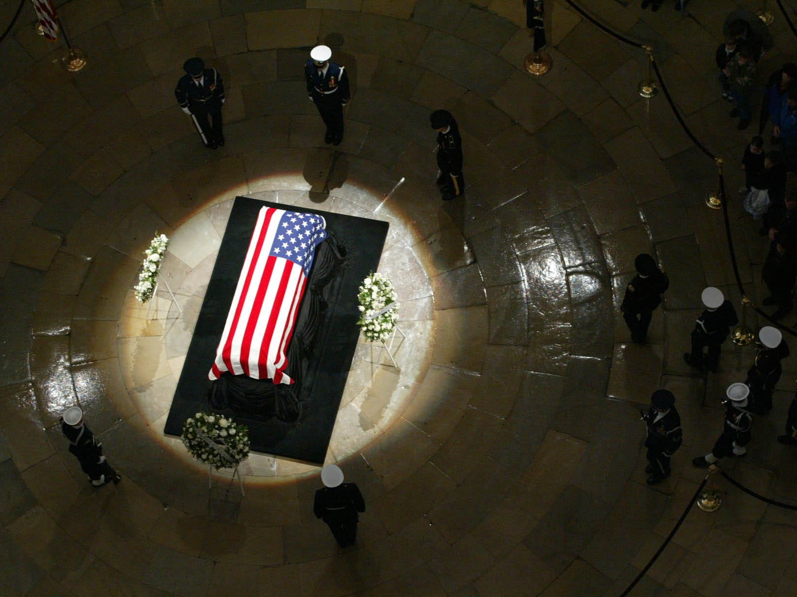 The changing of the guards occurs while the casket of former President Gerald R. Ford lies in state inside the U.S. Capitol in Washington, Monday, Jan. 1, 2007.