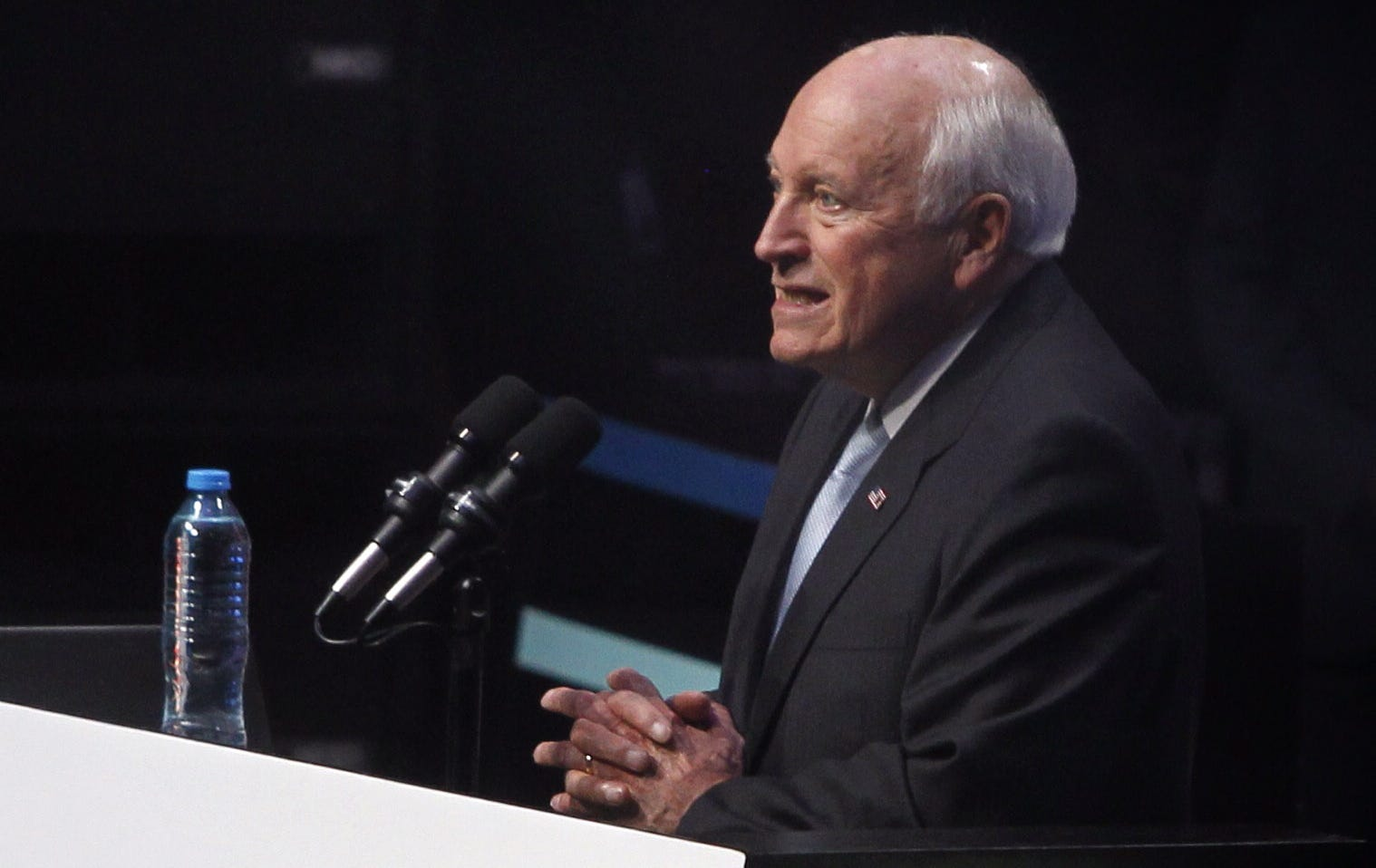 Former Vice President Dick Cheney speaks at the National Auditorium in Mexico City on September 7, 2018, during the event