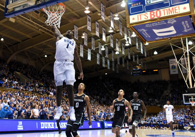 Zion Williamson dunks during the second half against the Stetson Hatters at Cameron Indoor Stadium.