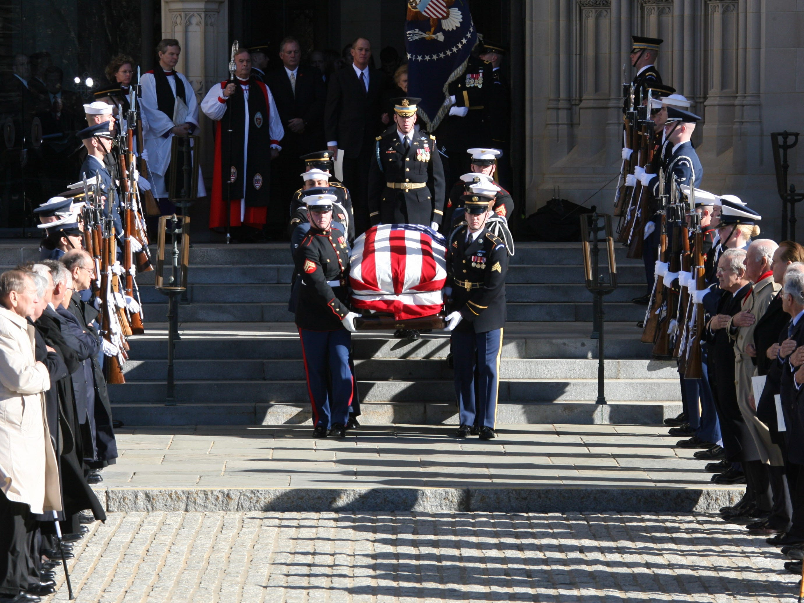 The casket of former president Gerald Ford is carried from the National Cathedral in Washington, D.C., after services on Jan. 2, 2007.