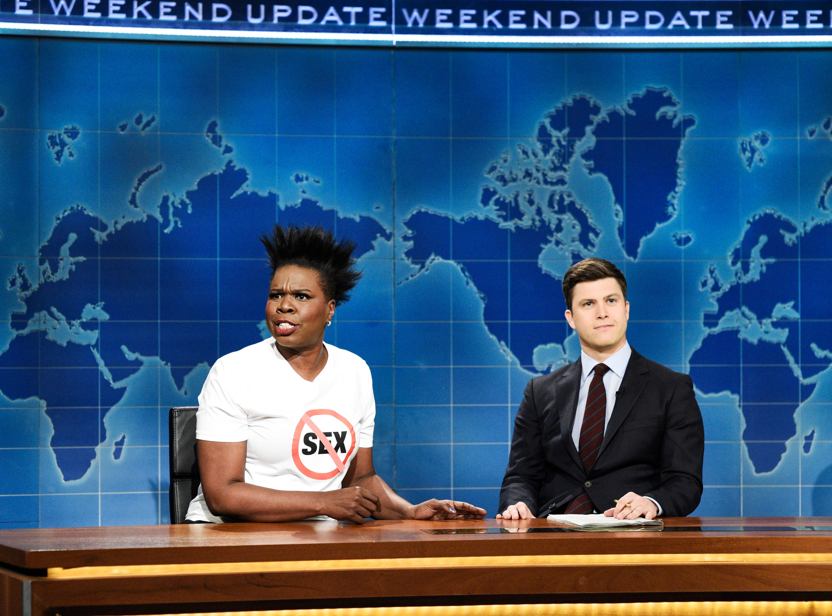 "Leslie Jones, left, announced she was retiring from sex on ""Weekend Update."" Explaining her reasoning, she told anchor Colin Jost, ""Who am I supposed to even date? A guy in his 60s, who possibly might die on top of me? Or date a guy in his 20s, so I'm a child molester now? I have to put out milk and cookies and a PlayStation to have sex? No! My sex days is over!"""