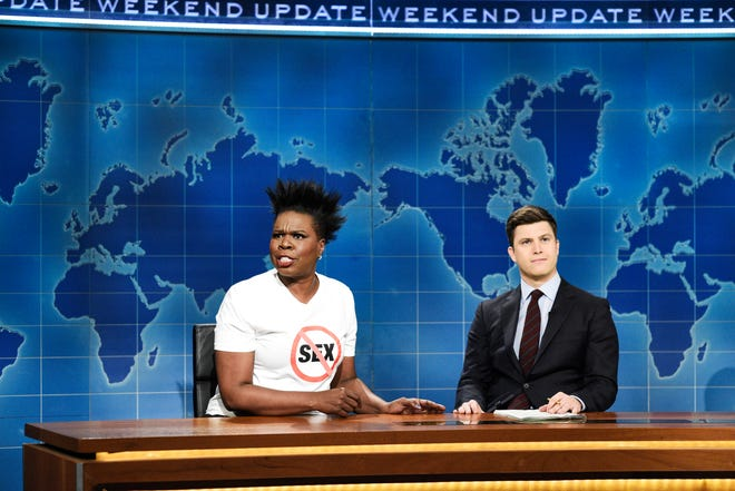 """Leslie Jones, left, announced she was retiring from sex on """"Weekend Update."""" Explaining her reasoning, she told anchor Colin Jost, """"Who am I supposed to even date? A guy in his 60s, who possibly might die on top of me? Or date a guy in his 20s, so I'm a child molester now? I have to put out milk and cookies and a PlayStation to have sex? No! My sex days is over!"""""""