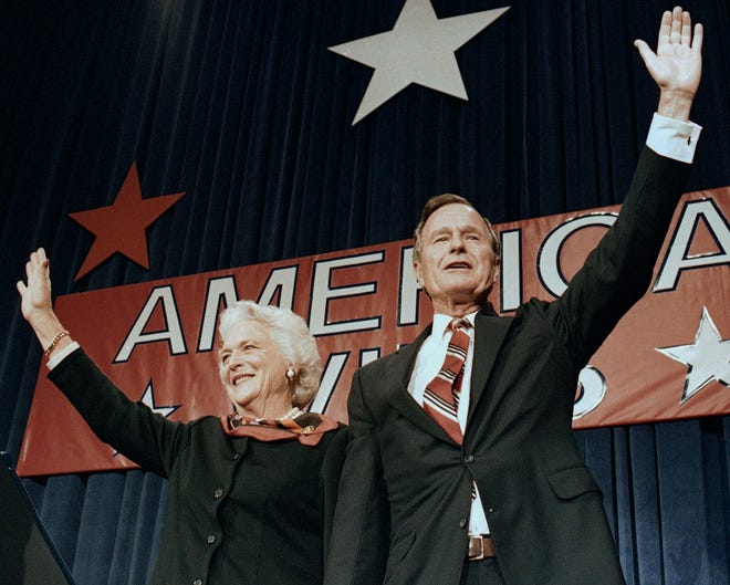 Newly elected President George H.W. Bush in Houston on Nov. 8, 1988.