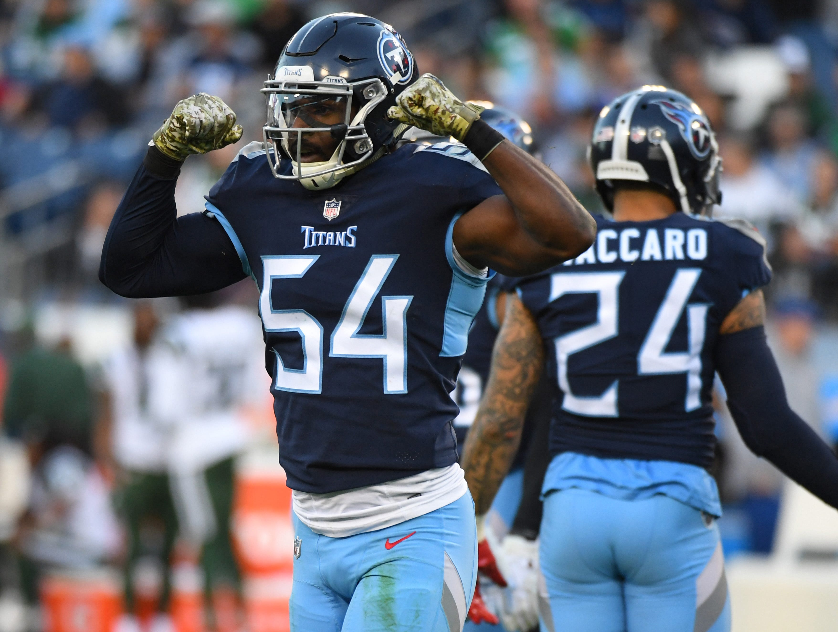 Titans linebacker Rashaan Evans after a defensive stop during the first half against the Jets.