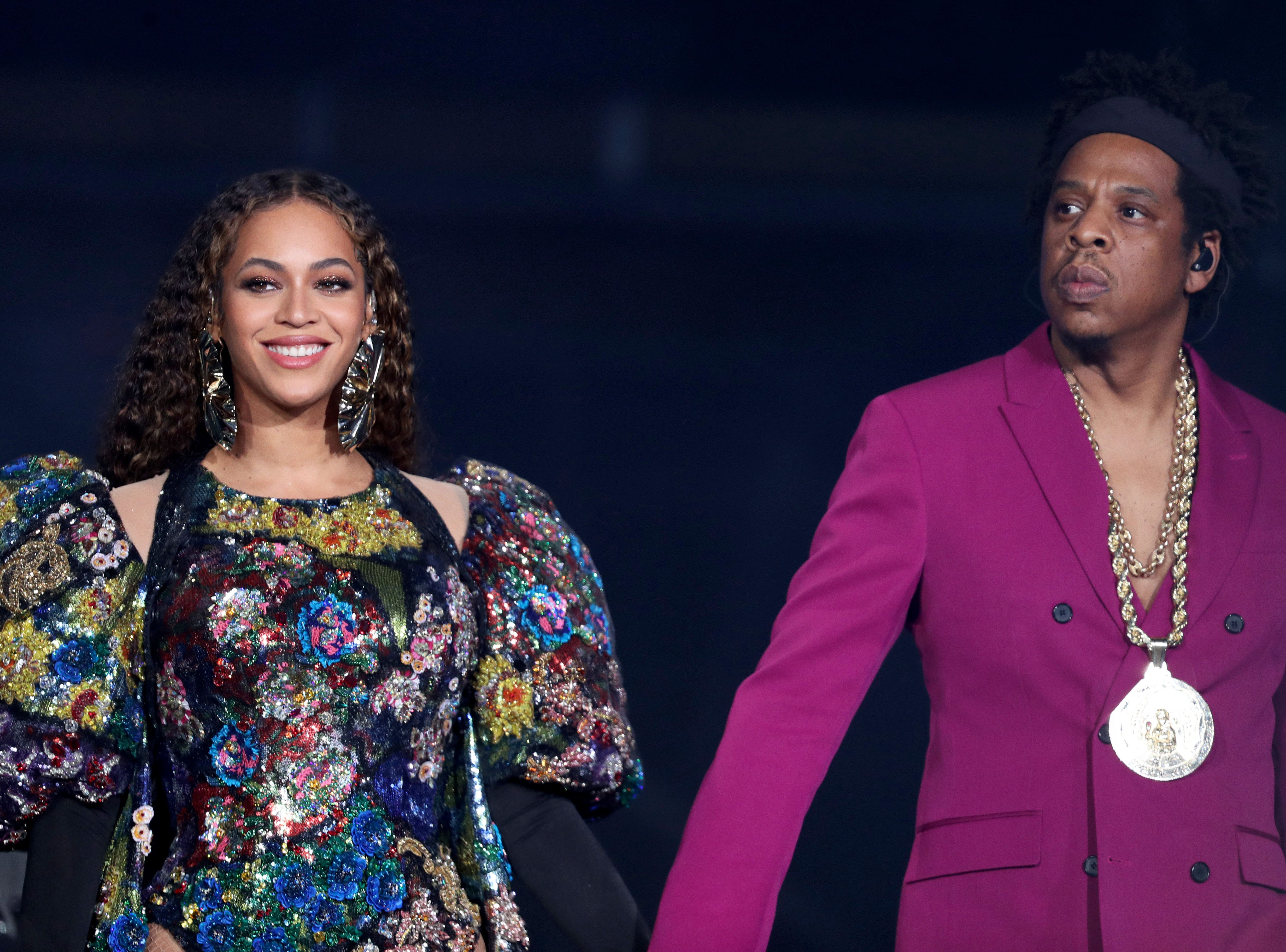 JOHANNESBURG, SOUTH AFRICA - DECEMBER 2:  Beyonce and Jay-Z perform during the Global Citizen Festival: Mandela 100 at FNB Stadium on December 2, 2018 in Johannesburg, South Africa. (Photo by Raven Varona/Parkwood/PictureGroup) [Via MerlinFTP Drop]