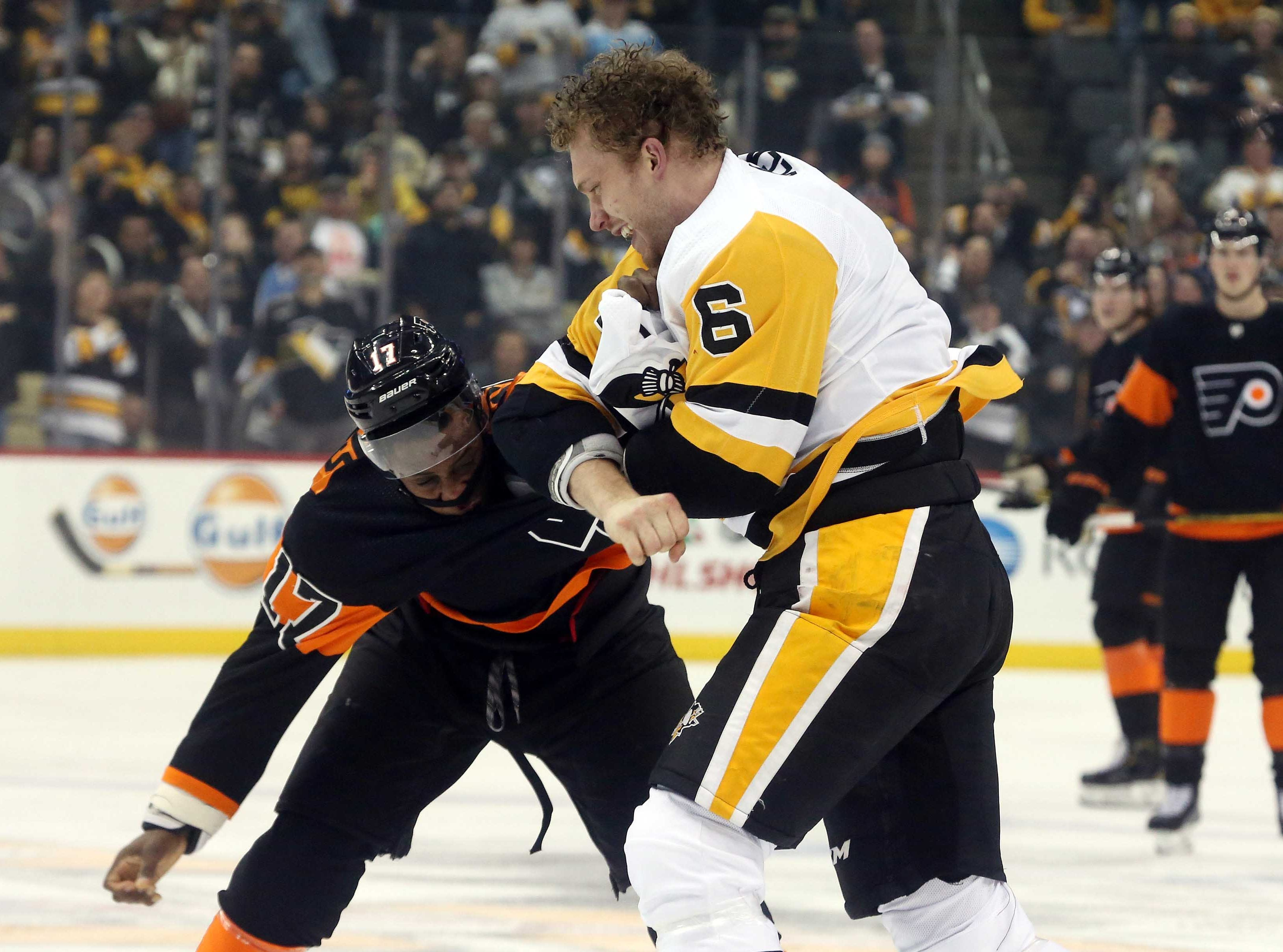 Dec. 1: Philadelphia Flyers' Wayne Simmonds vs. Pittsburgh Penguins' Jamie Oleksiak (6).