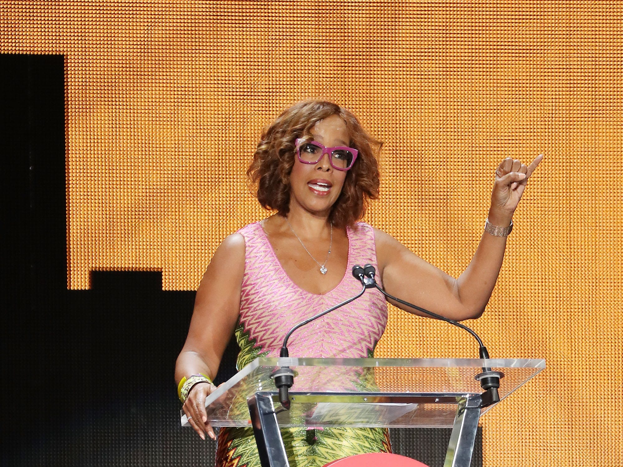 JOHANNESBURG, SOUTH AFRICA - DECEMBER 02:  Gayle King speaks on stage during the Global Citizen Festival: Mandela 100 at FNB Stadium on December 2, 2018 in Johannesburg, South Africa.  (Photo by Jemal Countess/Getty Images for Global Citizen Festival: Mandela 100) ORG XMIT: 775264426 ORIG FILE ID: 1067716212