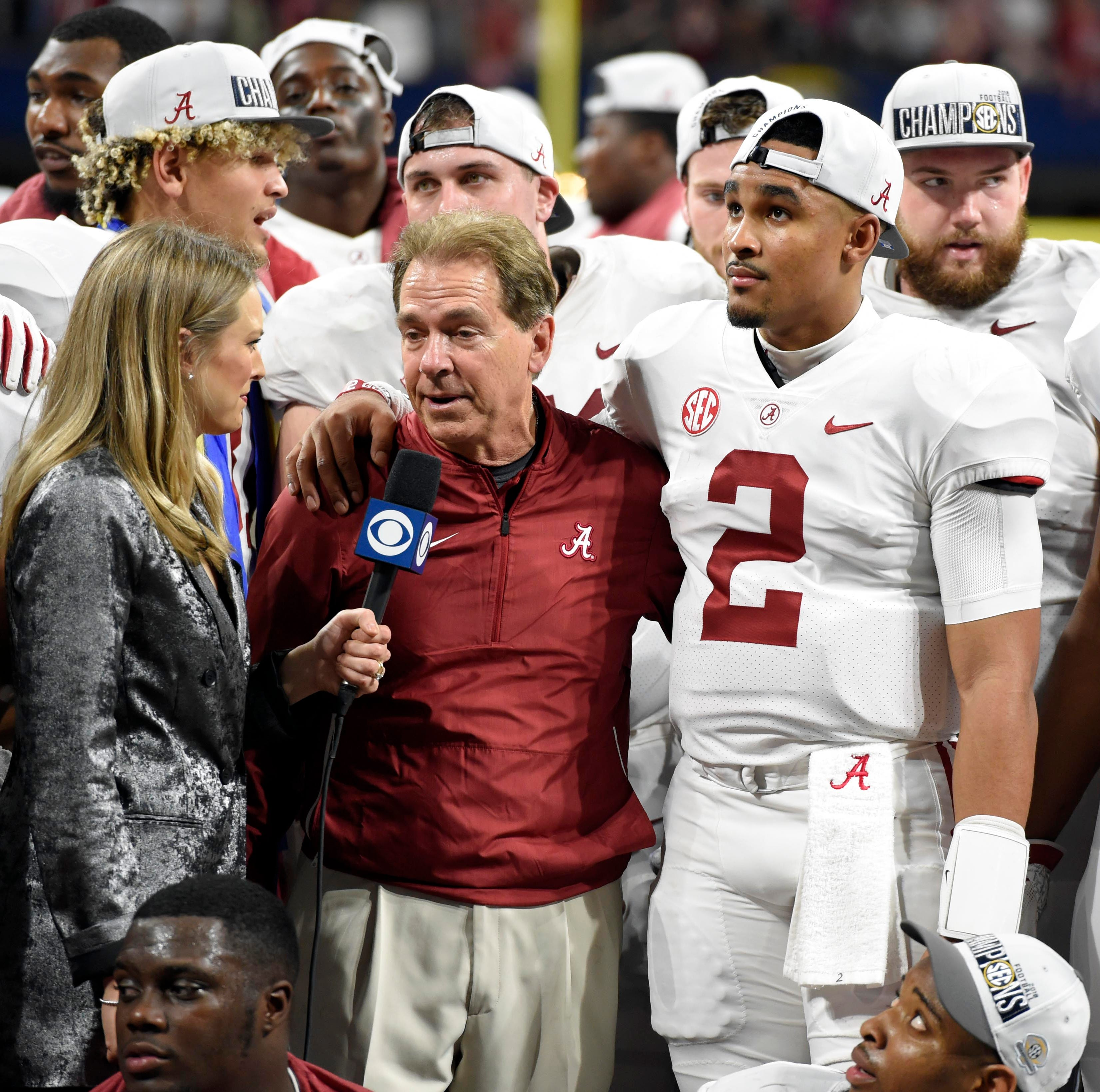 Alabama Crimson Tide head coach Nick Saban is interviewed after defeating the Georgia Bulldogs in the SEC championship game at Mercedes-Benz Stadium.