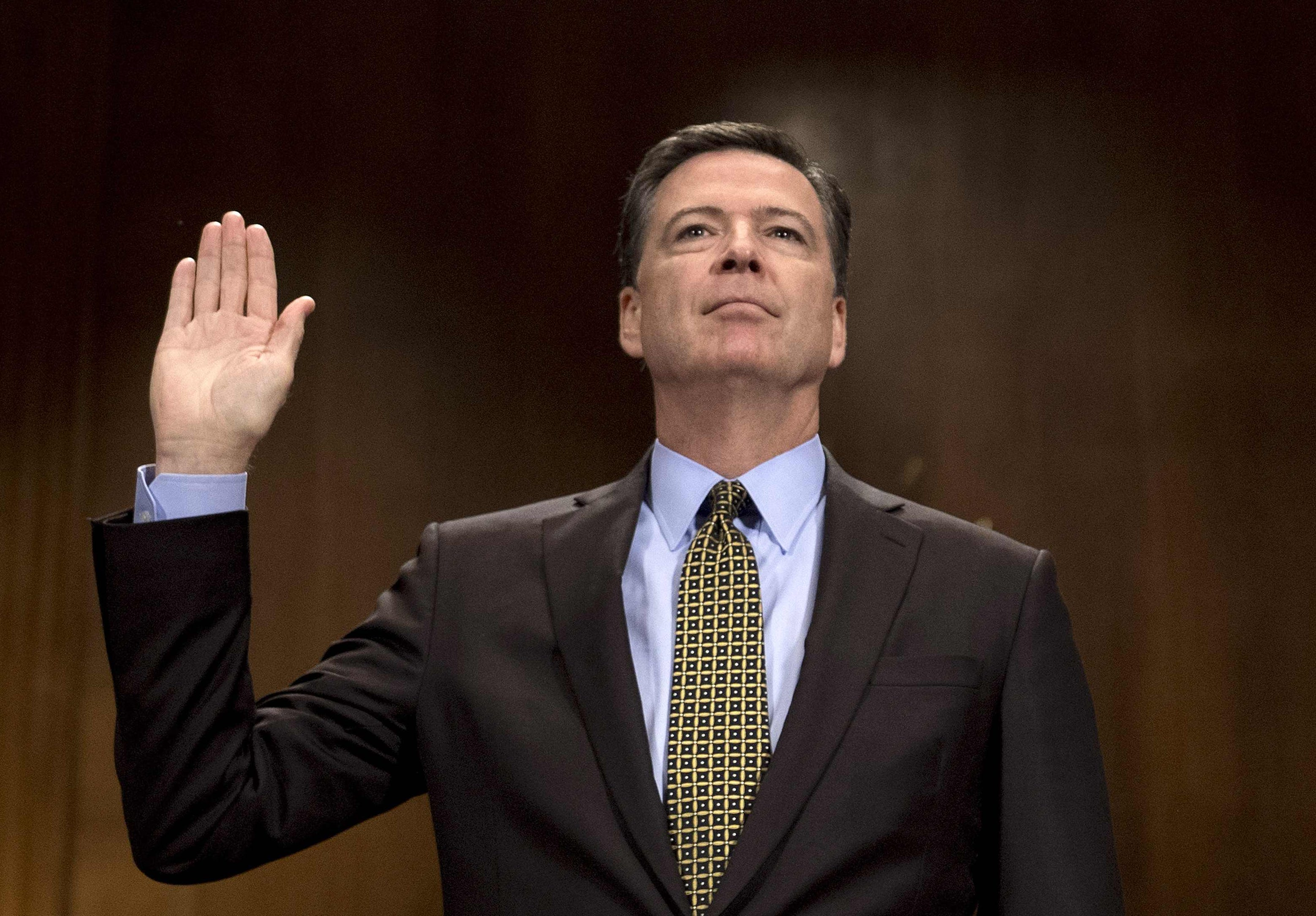 FBI Director James Comey is sworn in prior to testifying before the Senate Judiciary Committee on Capitol Hill in Washington, on May 3, 2017.
