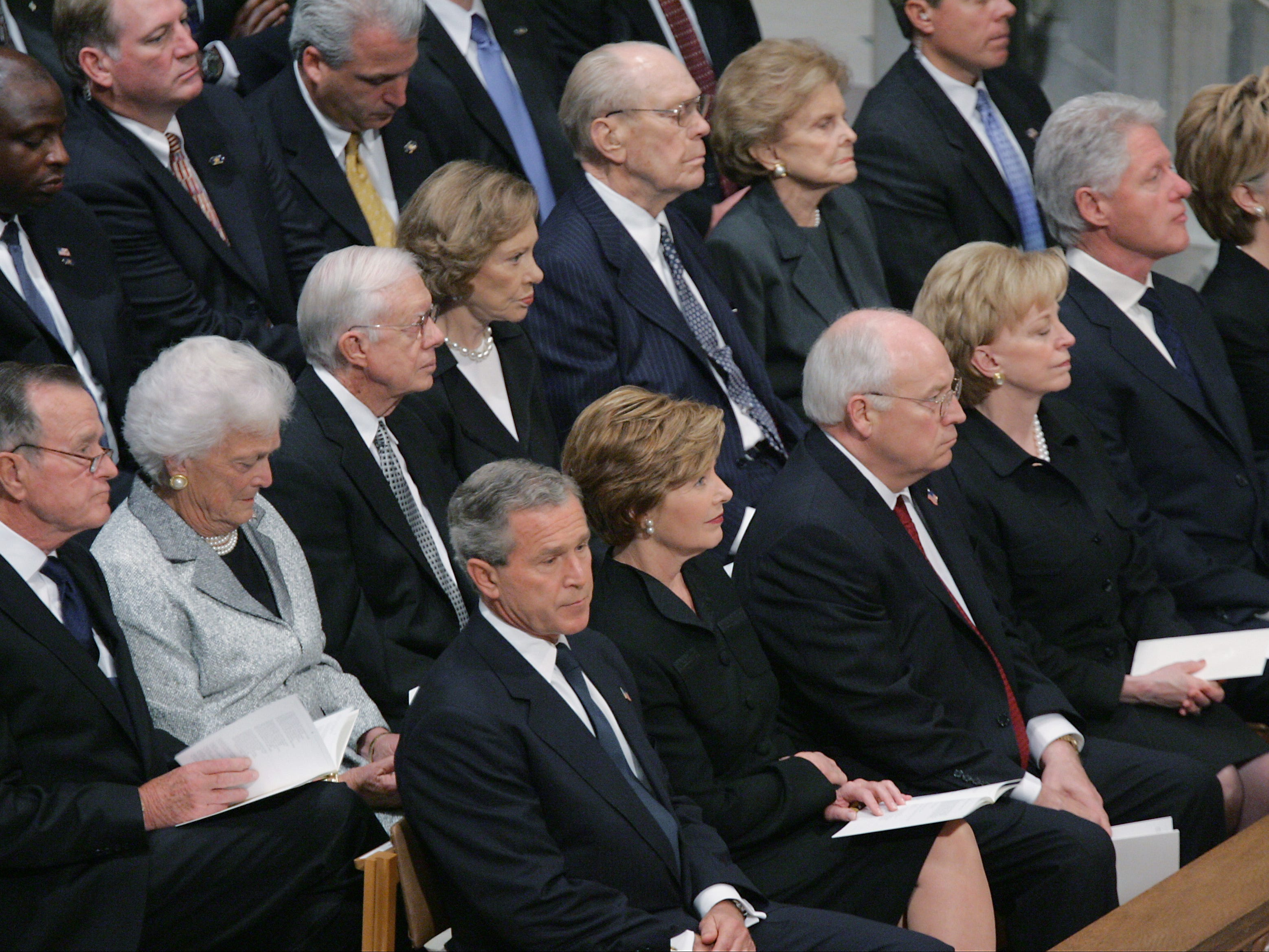 Former Presidents and First Ladies Bush, Carter, Ford and Clinton, join President and Mrs. Bush and Vice President and Mrs. Cheney at the funeral for President Ronald Reagan at National Cathedral, June 11, 2004, in Washington.