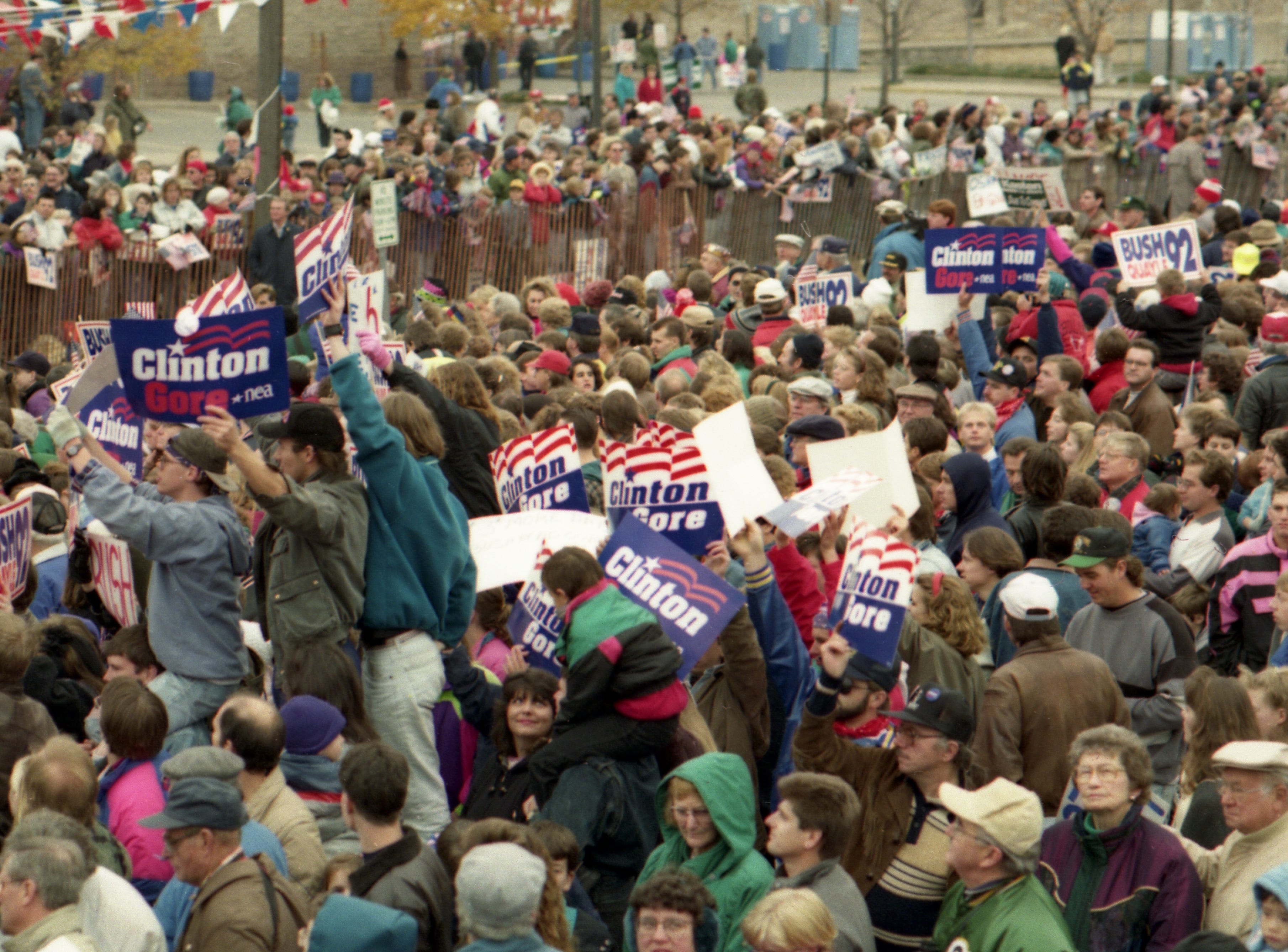 """Oct. 31, 1992. President George H. W. Bush's """"Spirit of America""""  whistle-stop campaign train passed through Neenah, Dale, Weyauwega, Waupaca, Amherst and Amherst Junction on the way to Stevens Point. Post-Crescent photo by Michael Leschisin"""