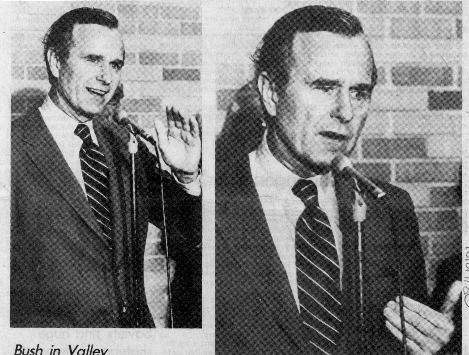 Oct. 24, 1980. Candidate in Appleton. Inflation still issue: Bush. Article about Republican vice-presidential candidate George H. W. Bush by Frank Church in The Post-Crescent.
