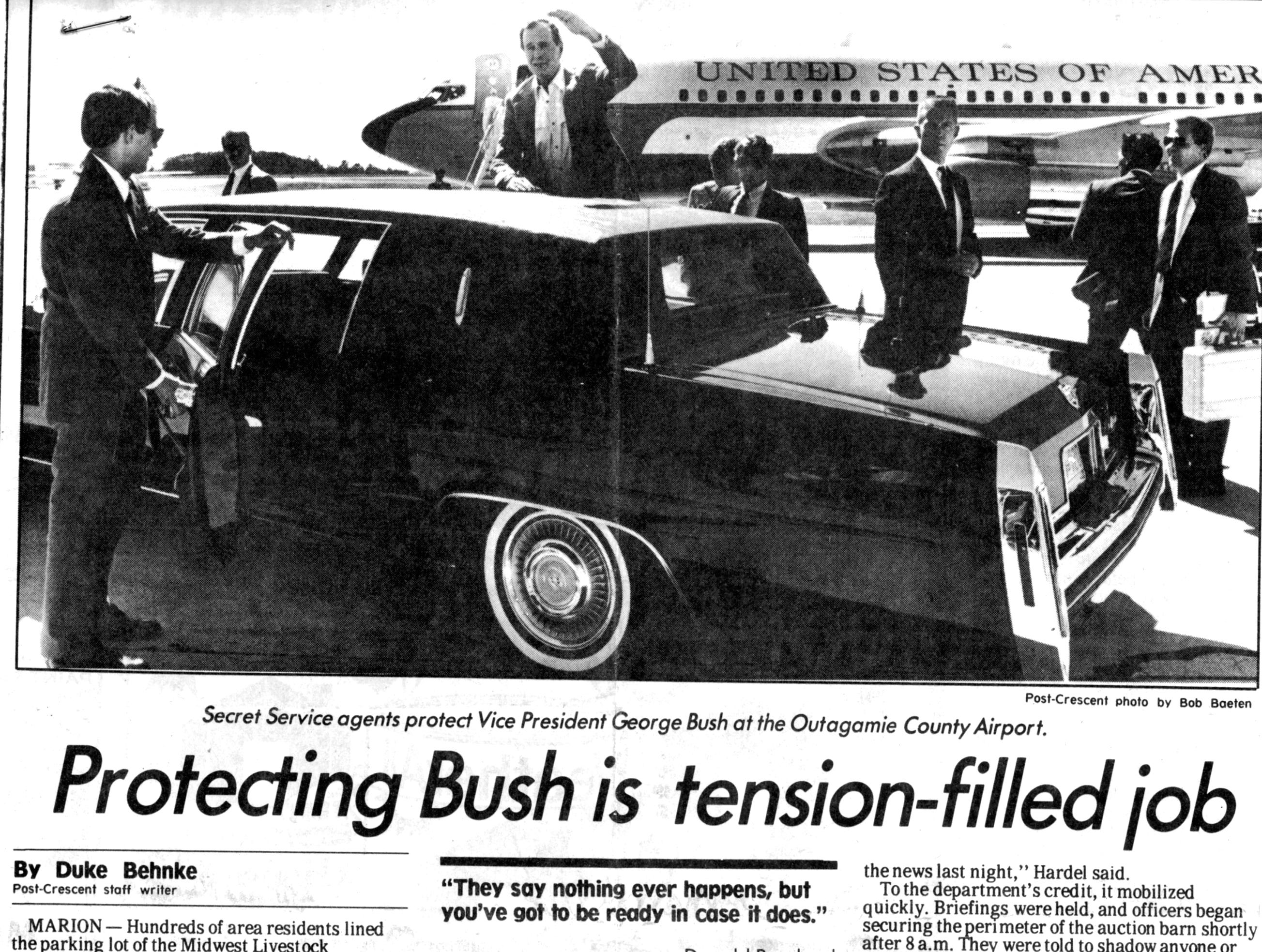 June 30, 1988. Protecting Bush is tension-filled job story by Duke Behnke in The Post-Crescent.  Vice President George H. W. Bush was on his way to the Midwest LIvestock Producers auction barn in Marion.