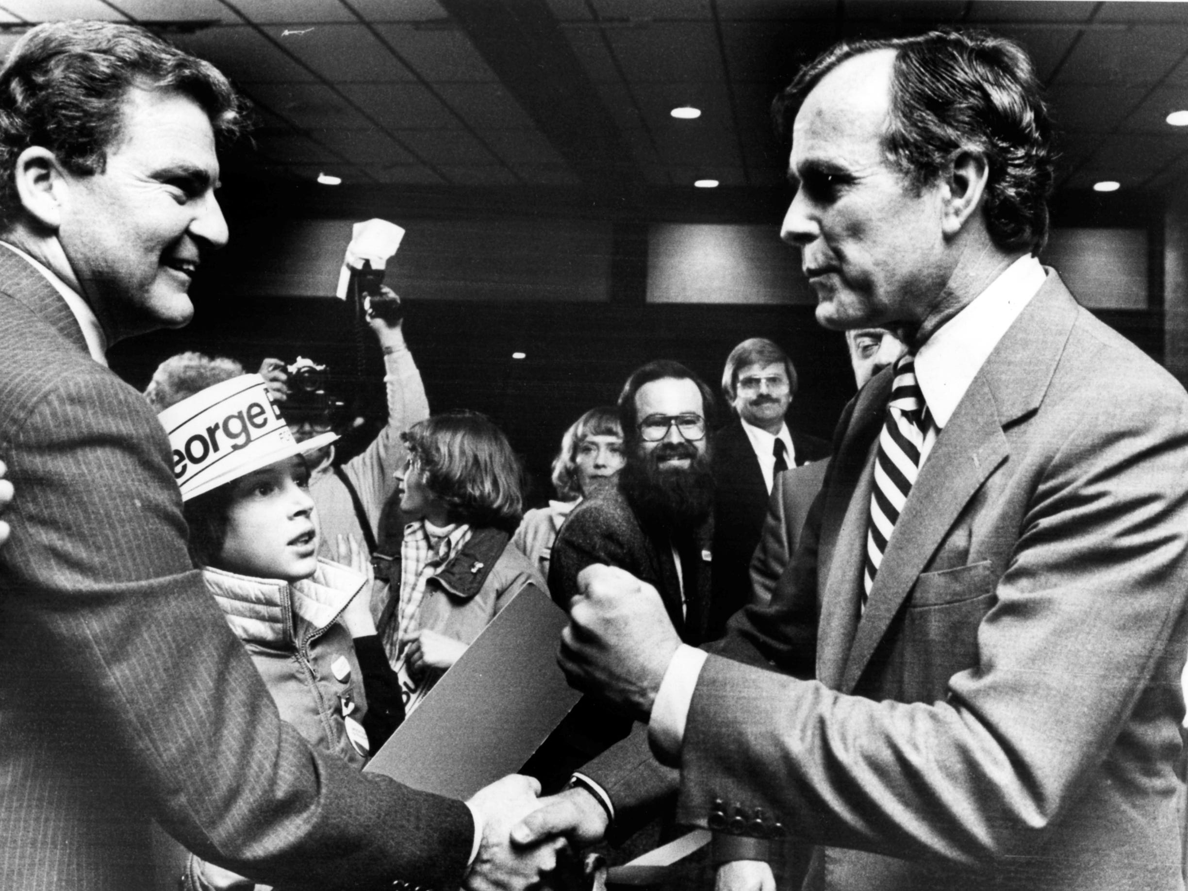 Republican presidential candidate George H. W. Bush visits Appleton on March 27, 1980. Post-Crescent photo.