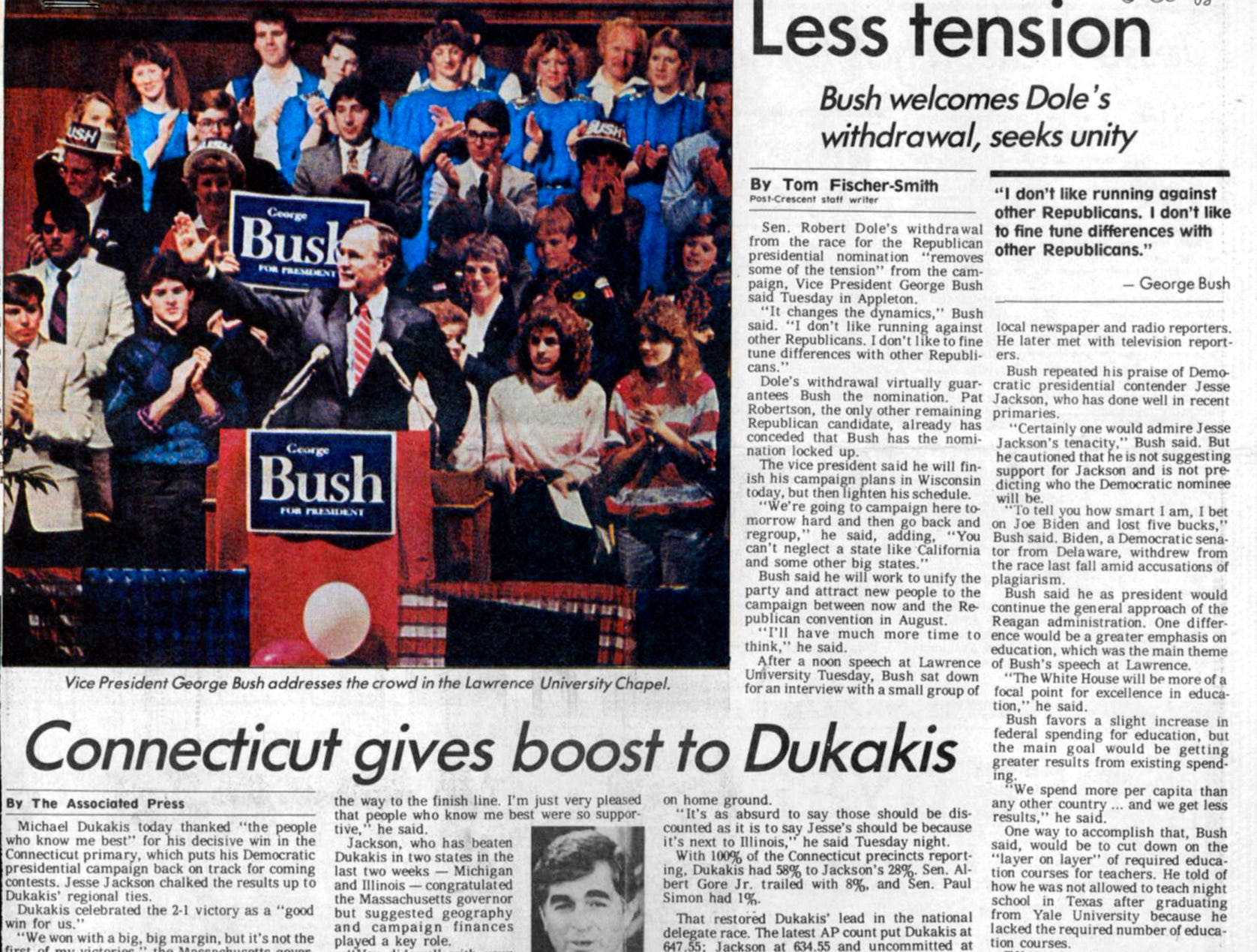 Vice President George H. W. Bush addresses the crowd in the Lawrence University Chapel on March 29, 1988. Less tension article by Tom Fischer-Smith in The Post-Crescent.