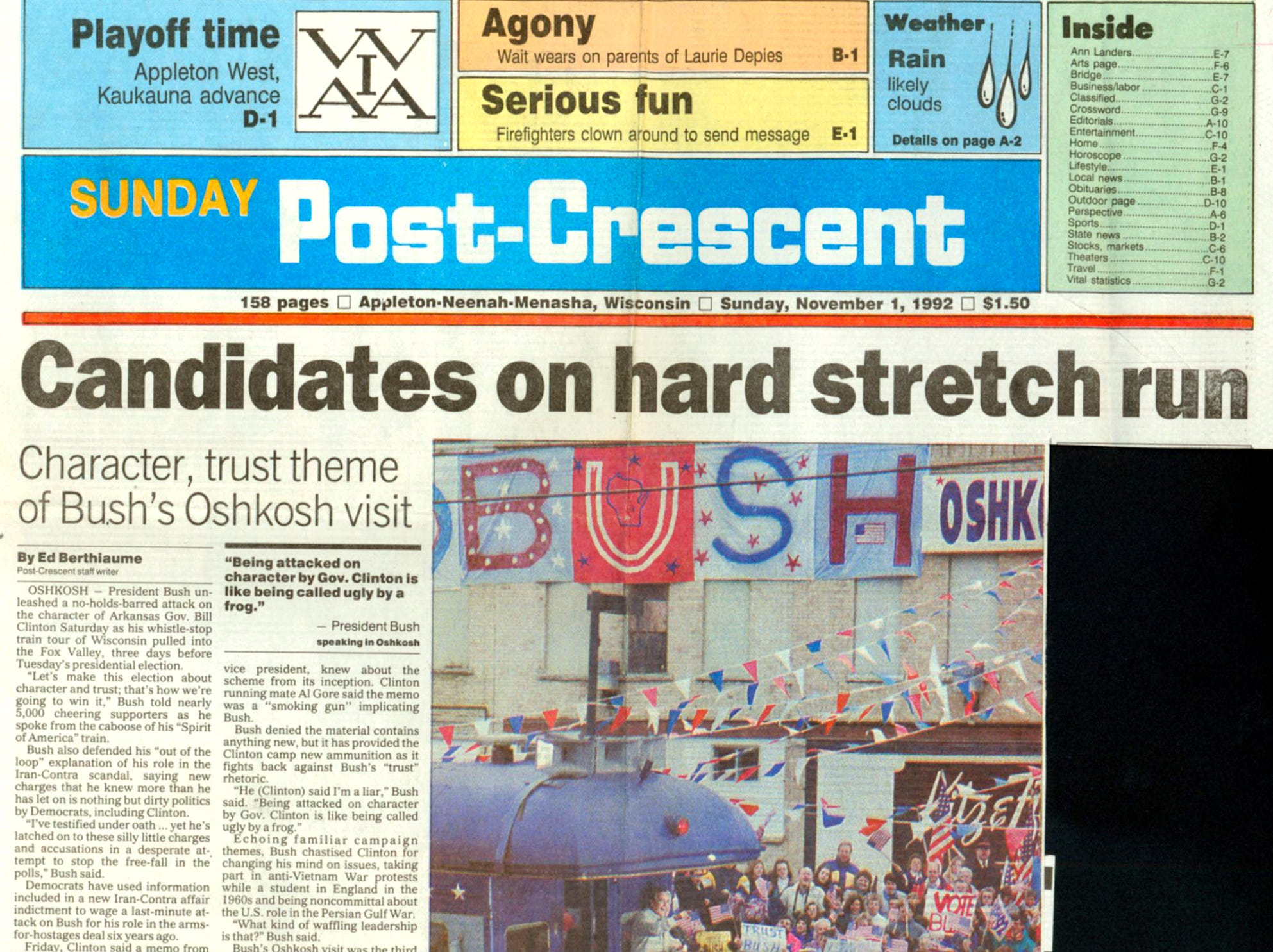 """Nov. 1, 1992. Character, trust theme of Bush's Oshkosh visit story by Ed Berthiaume in The Post-Crescent. President George H. W. Bush's """"Spirit of America""""  whistle-stop campaign train passed through Neenah, Dale, Weyauwega, Waupaca, Amherst and Amherst Junction on the way to Stevens Point."""