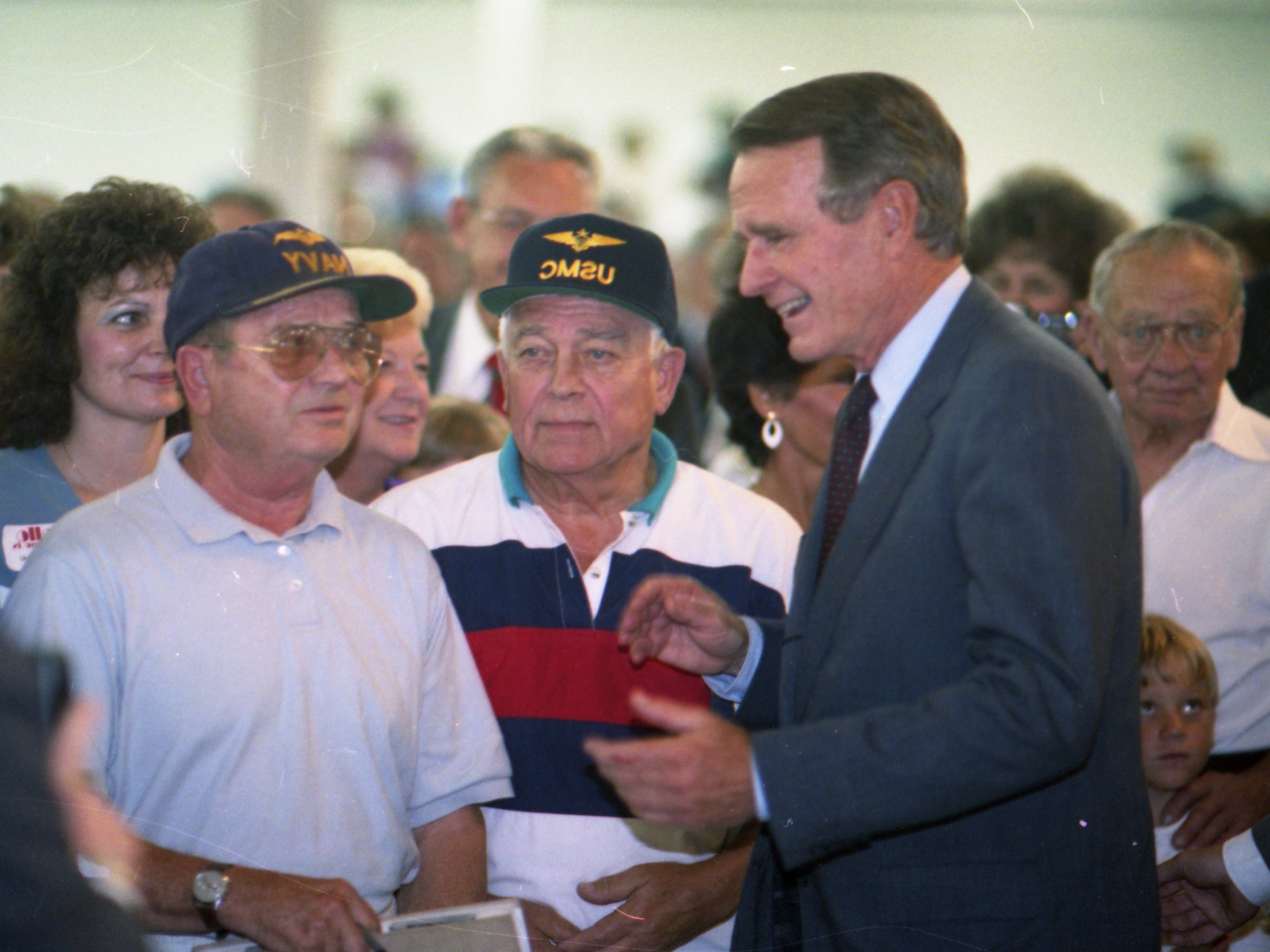 July 27, 1992. President George H. W. Bush spreads a Republican campaign message in the Fox Cities. Post-Crescent photo by Mark Courtney