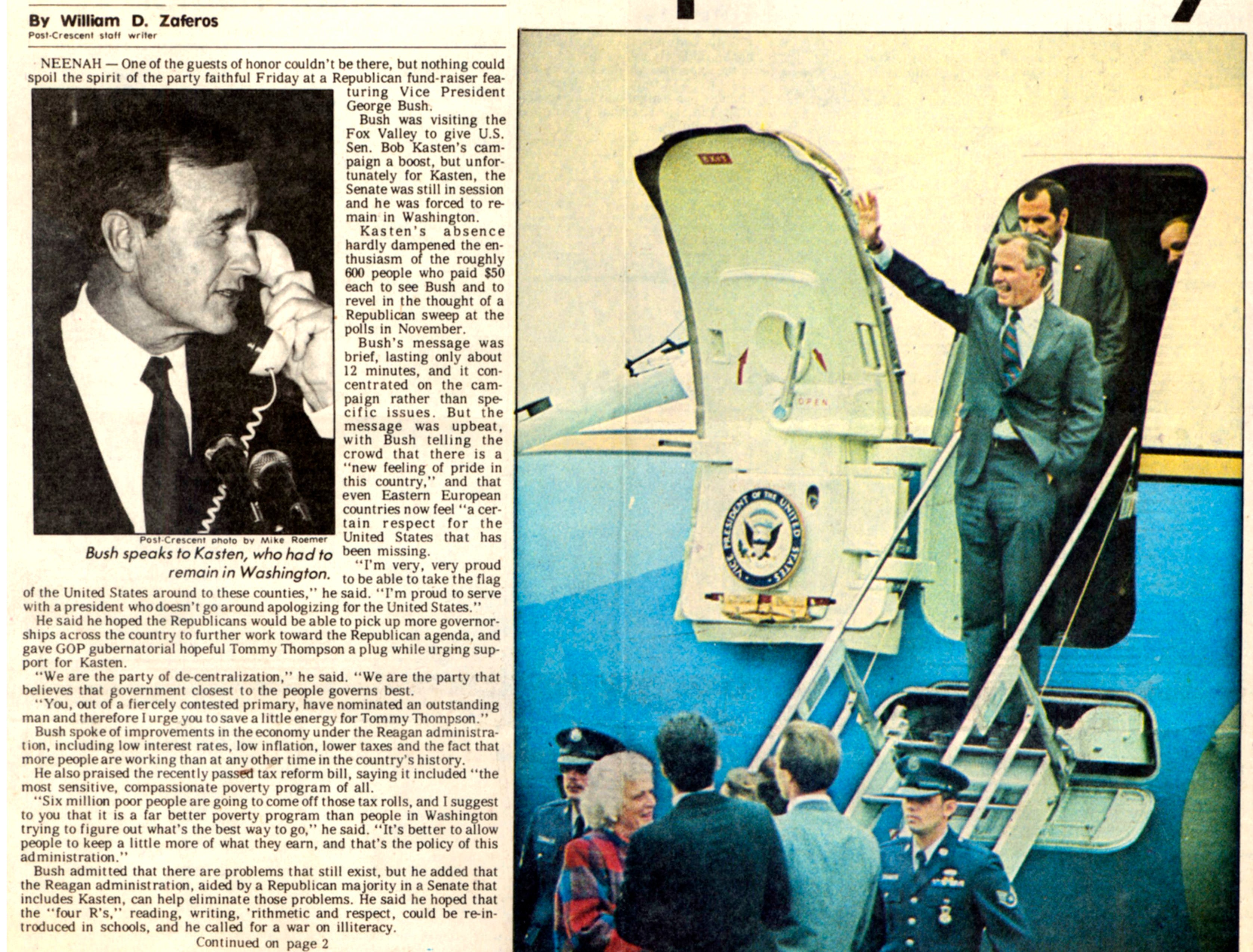 Sept. 20, 1986. Vice President George H. W. Bush stumps Valley article by William D. Zaferos in The Post-Crescent.