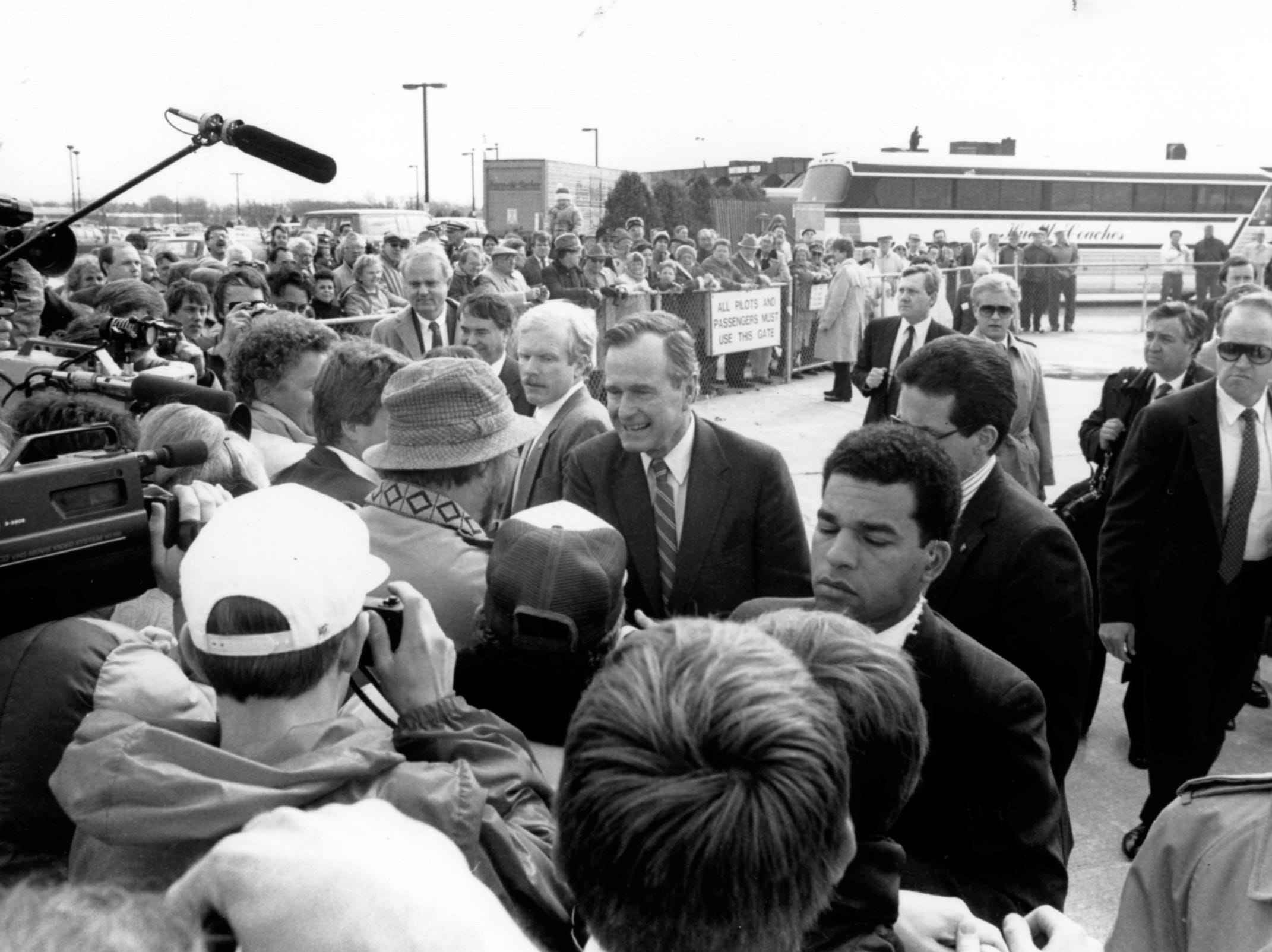 March 29, 1988. Vice president George H. W. Bush greets supporters March 29, 1988 at Wittman Field in Oshkosh. Post-Crescent photo by Ed Deschler.