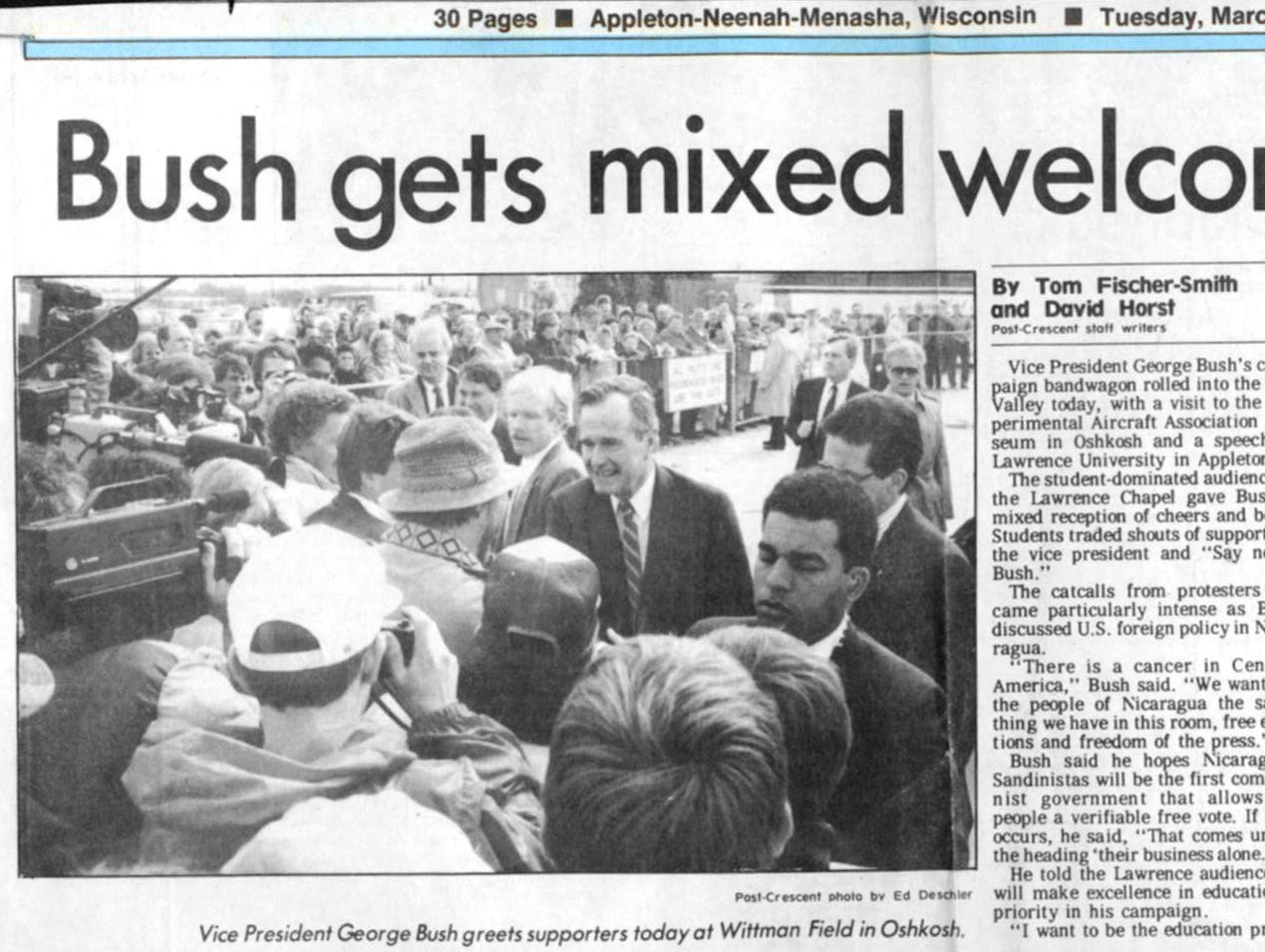 March 29, 1988. Vice president George H. W. Bush gets mixed welcome in Valley article by Tom Fischer-Smith and David Horst in The Post-Crescent.
