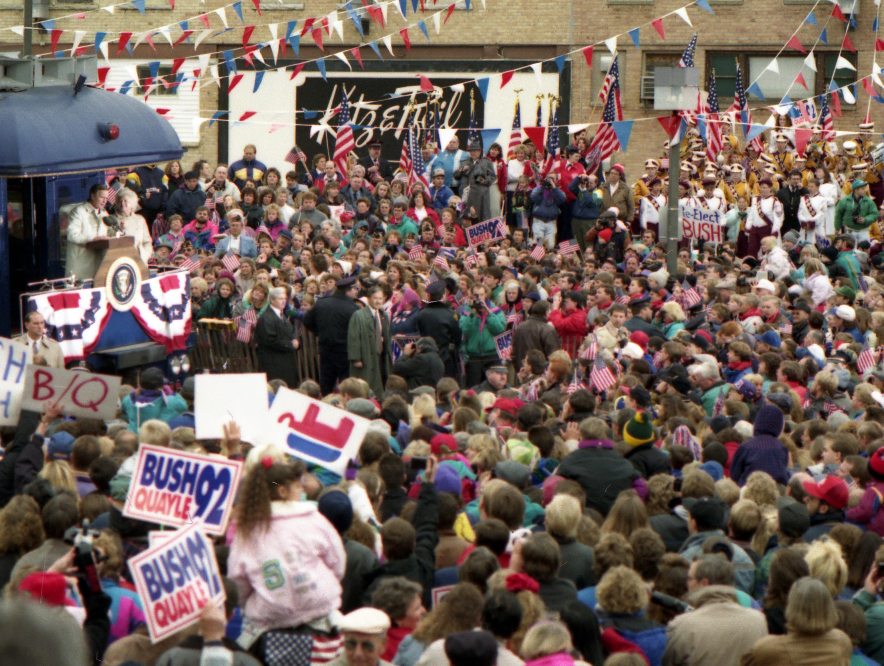 """Oct. 31, 1992. President George H. W. Bush spoke from the caboose of his """"Spirit of America"""" train to an Oshkosh crowd estimated at around 5,000 supporters. The whistle-stop campaign passed through Neenah, Dale, Weyauwega, Waupaca, Amherst and Amherst Junction on the way to Stevens Point. Post-Crescent photo by Michael Leschisin"""