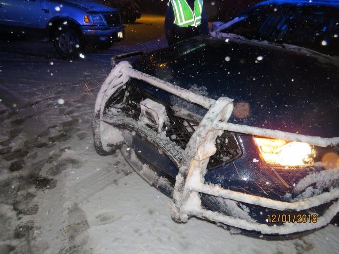 A Waupaca County squad car was hit by an impaired driver Saturday night.