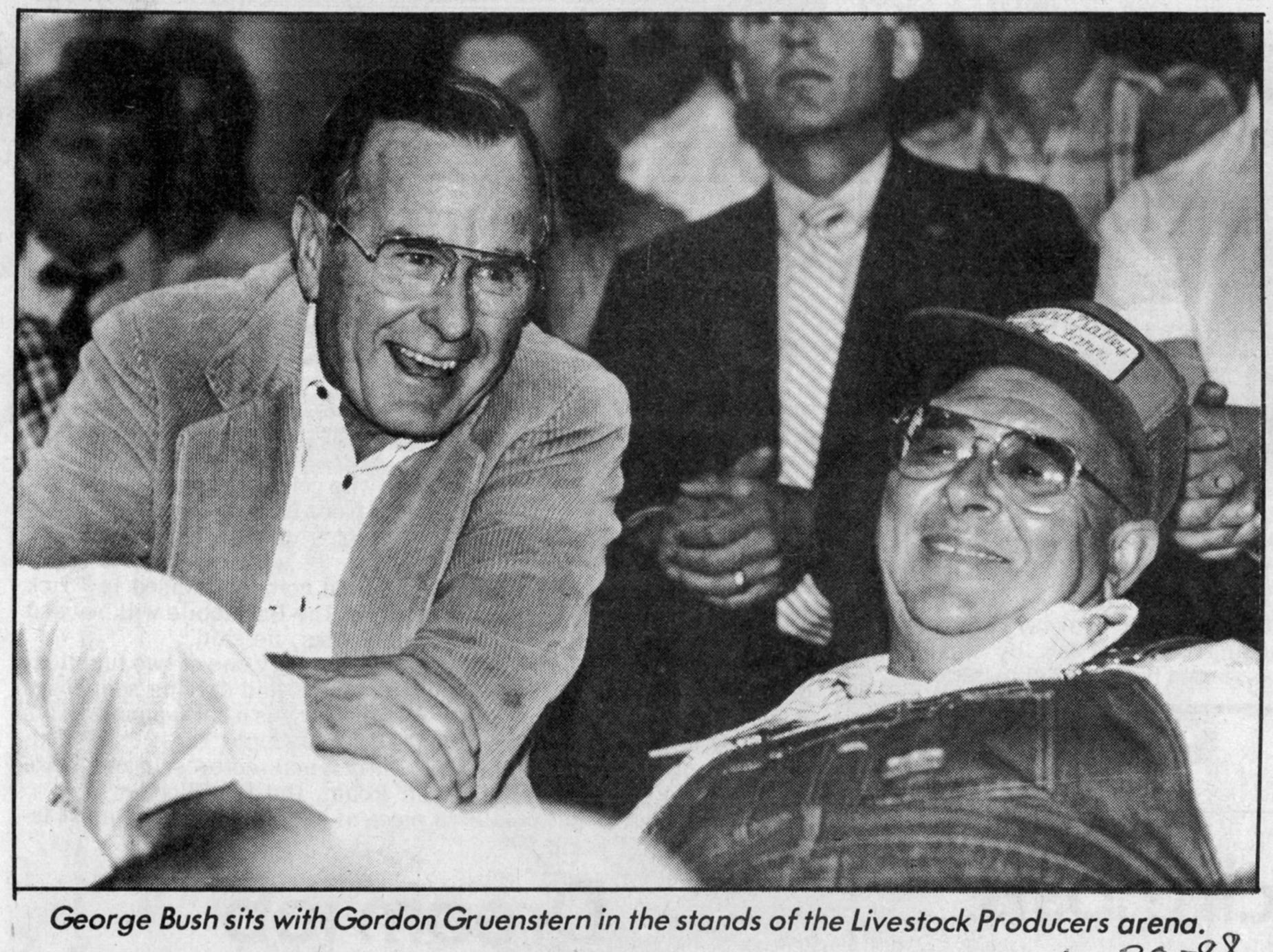 June 30, 1988, Bush visit pleases farmers article by Tom Fischer-Smith and Brenda Regeth in The Post-Crescent. Vice president George H. W. Bush visited the Midwest Livestock Producers market in Marion.