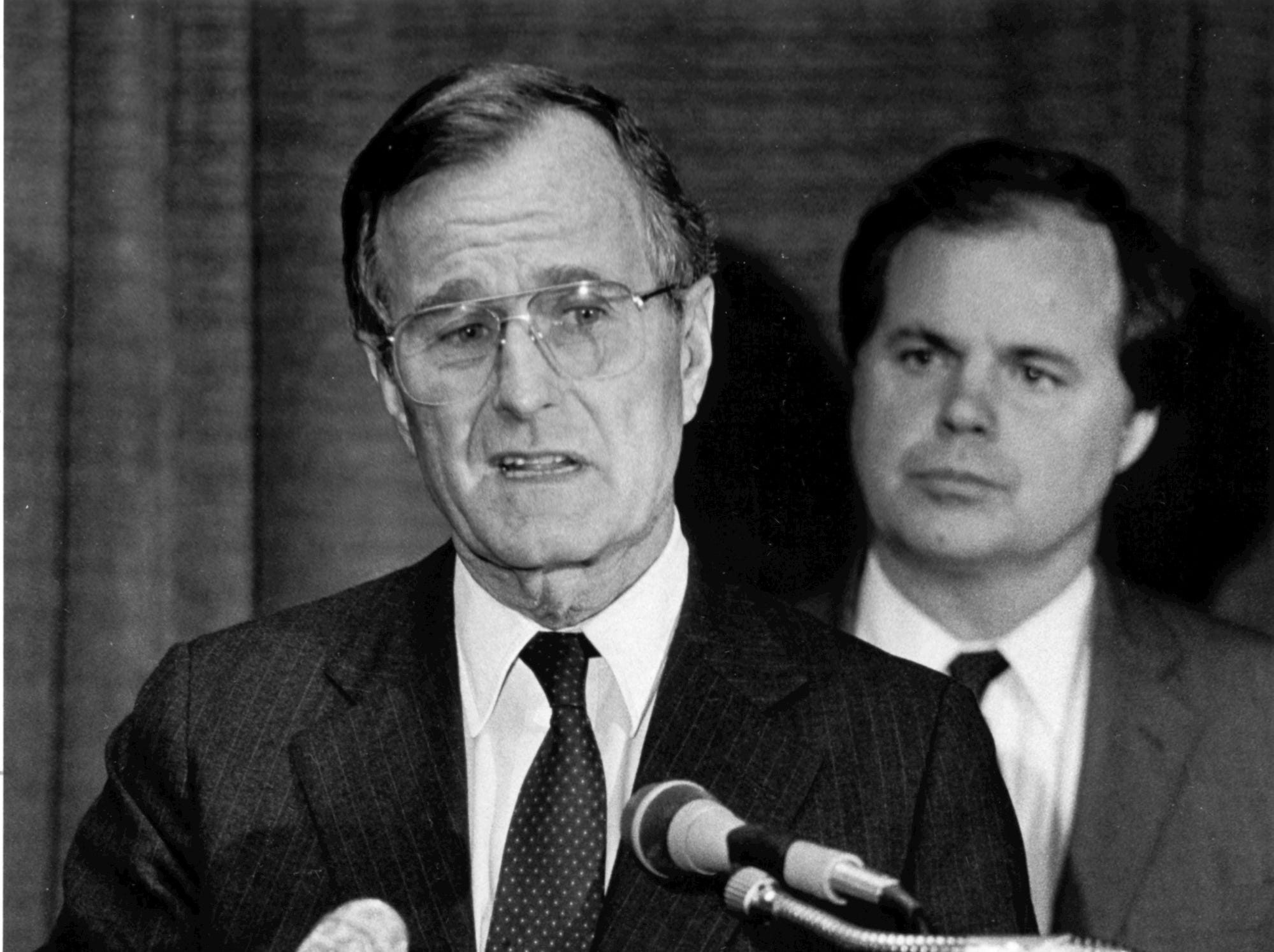 Oct. 23. 1984. Vice President George H. W. Bush. Post-Crescent photo by Mark Courtney.