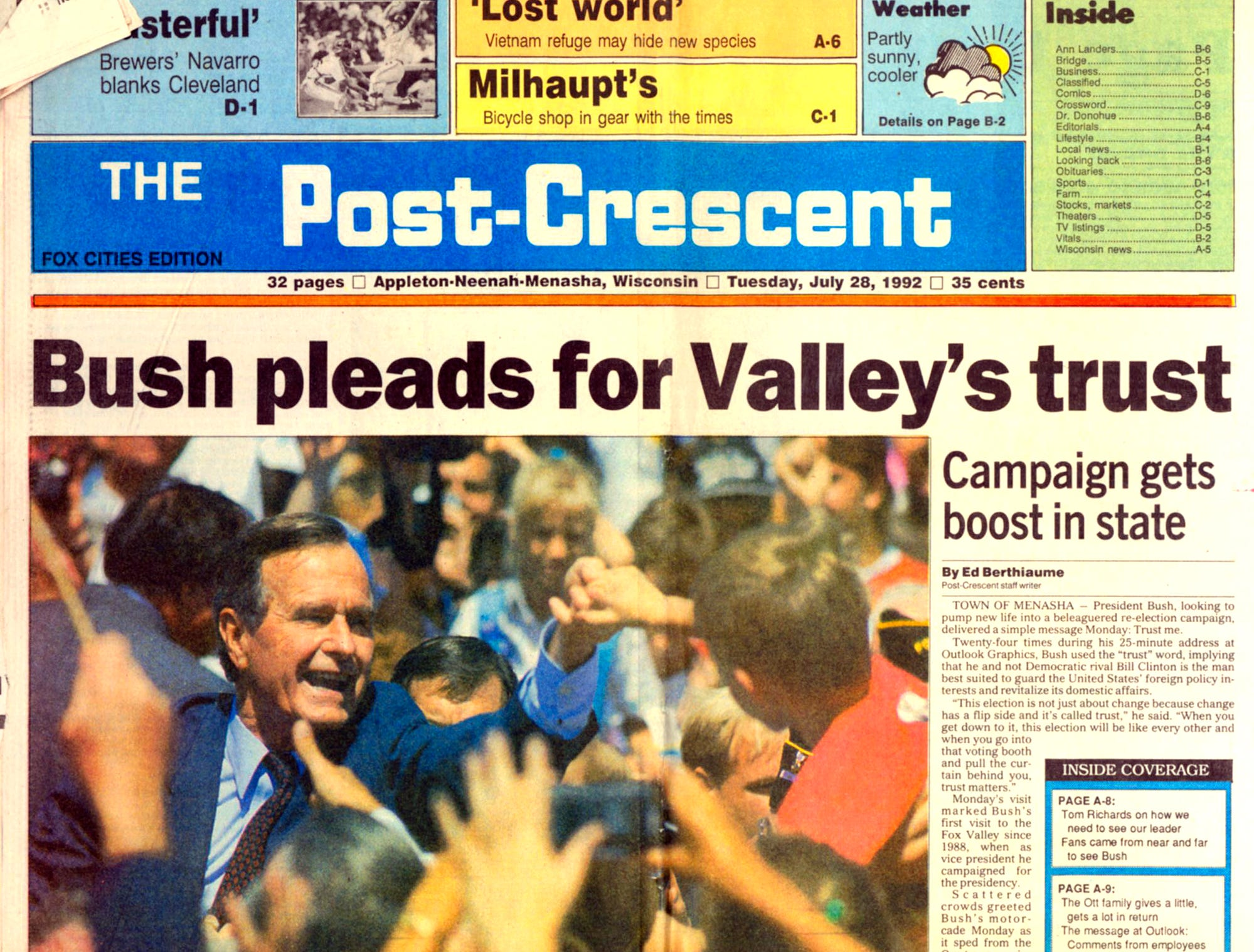 July 28, 1992. President George H. W. Bush pleads for Valley's trust. Campaign gets boost in state story by Ed Berthiaume in The Post-Crescent.