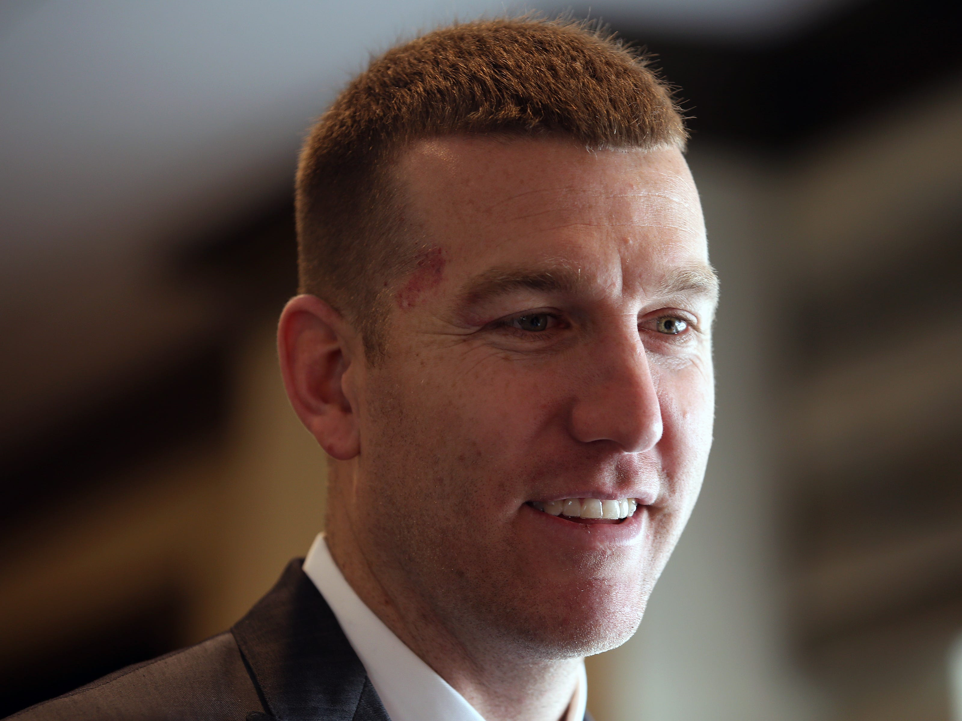 Todd Frazier of the New York Mets, and a Toms River native, speaks to the Asbury Park Press before being inducted into the NJSIAA Hall of Fame at the Westin Princeton at Forrestal Village in Princeton, NJ Monday, December 3, 2018.