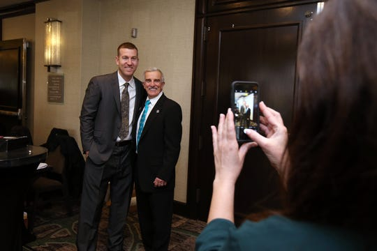 Todd Frazier of the New York Mets, and a Toms River native, has his photograph take with Bill Bruno of Asbury Park, who is the assistant director of the NJSIAA, before being inducted into the NJSIAA Hall of Fame at the Westin Princeton at Forrestal Village in Princeton, NJ Monday, December 3, 2018.