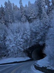 Snow and ice cover trees around a tunnel on Newfound Gap Road in Great Smoky Mountains National Park on Nov. 28.