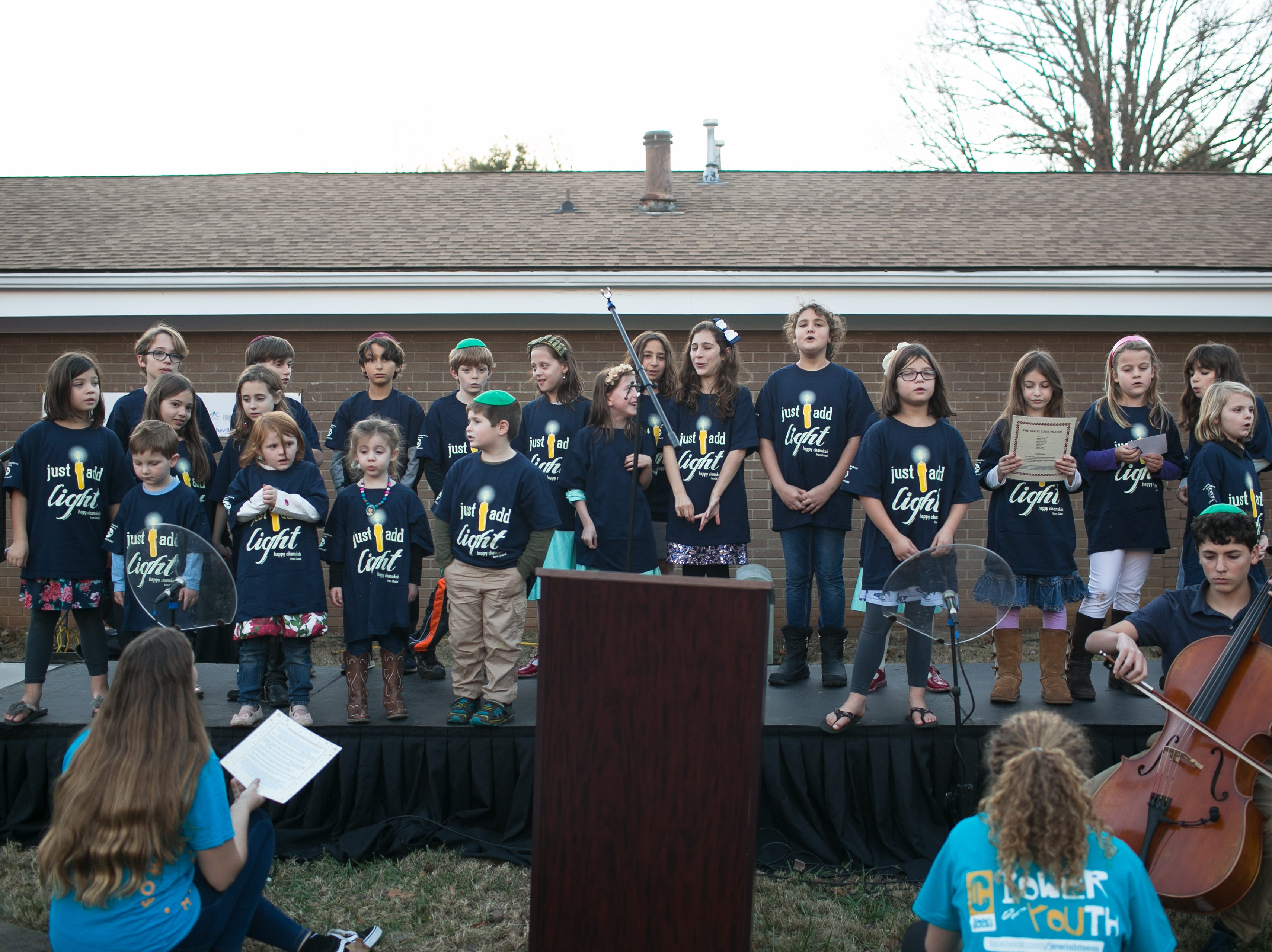 The Chabad Hebrew School of the Arts Sunday School performs during Chanukah Live!, Asheville's community Hanukkah celebration, at Chabad House on Dec. 2, 2018.