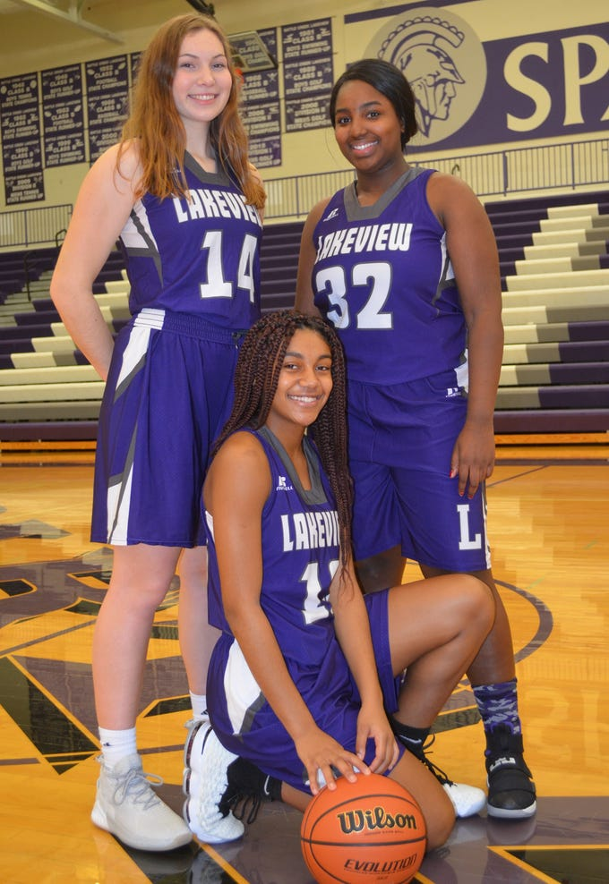 The Lakeview girls basketball team is led by returning players, from left, Karlie Kucharczyk, Brazyll Watkins and Jaida Boggerty
