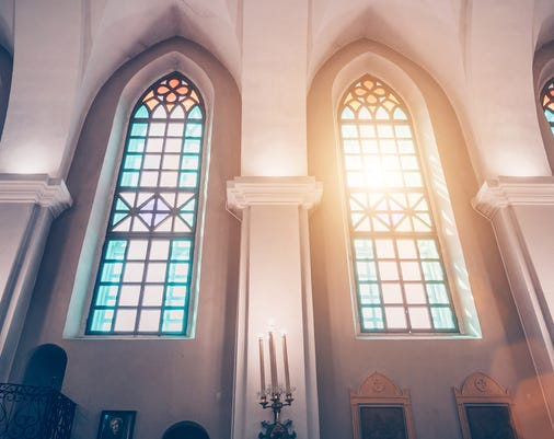 Church Of Holy Trinity Also Known As St Roch On The Golden Hill Is A Roman Catholic Church In Minsk View Of The Stained Glass Windows And Sunlight Through Them