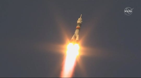 A Russian Soyuz-FG rocket carrying a three-person crew including NASA's Anne McClain blasted off from Kazakhstan at 6:31 a.m. EST Monday, Dec. 3, bound for the International Space Station.