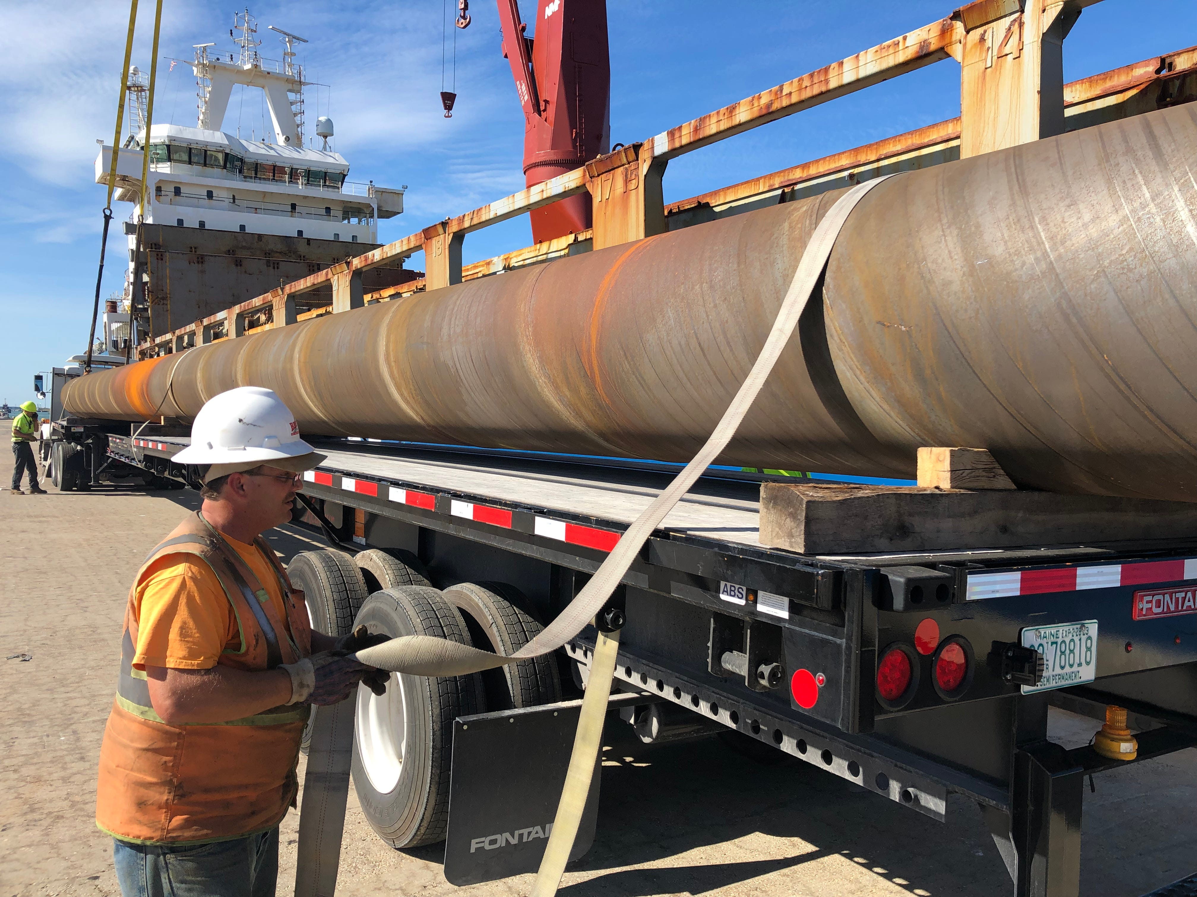 Waterside construction at Port Canaveral's new Cruise Terminal 3 is underway Dec. 3, 2018, and a new 1,309-foot-long berth is about to take shape with the arrival of the first steel for the bulkhead wall.