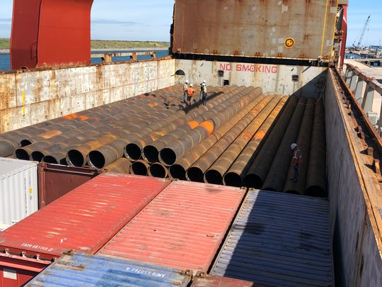 Steel pipe ranging in length from 110.5 feet to 126 feet arrives at Port Canaveral on Intermarine LLC's Ocean Globe cargo ship. The pipe will be used to anchor the waterside bulkhead wall at Port Canaveral's new Cruise Terminal 3. (Photo courtesy of Canaveral Port Authority.)
