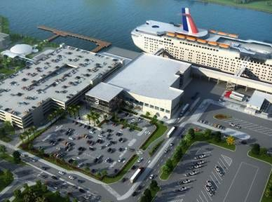Shown is an artist rendering of Cruise Terminal 3 at Port Canaveral. Expected completion is June 2020.