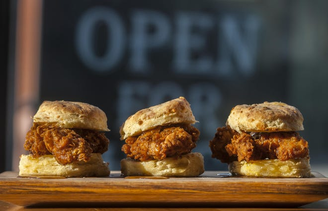 Chick'n biscuits at Prohibition Pig in Waterbury on Friday, May 8, 2015.